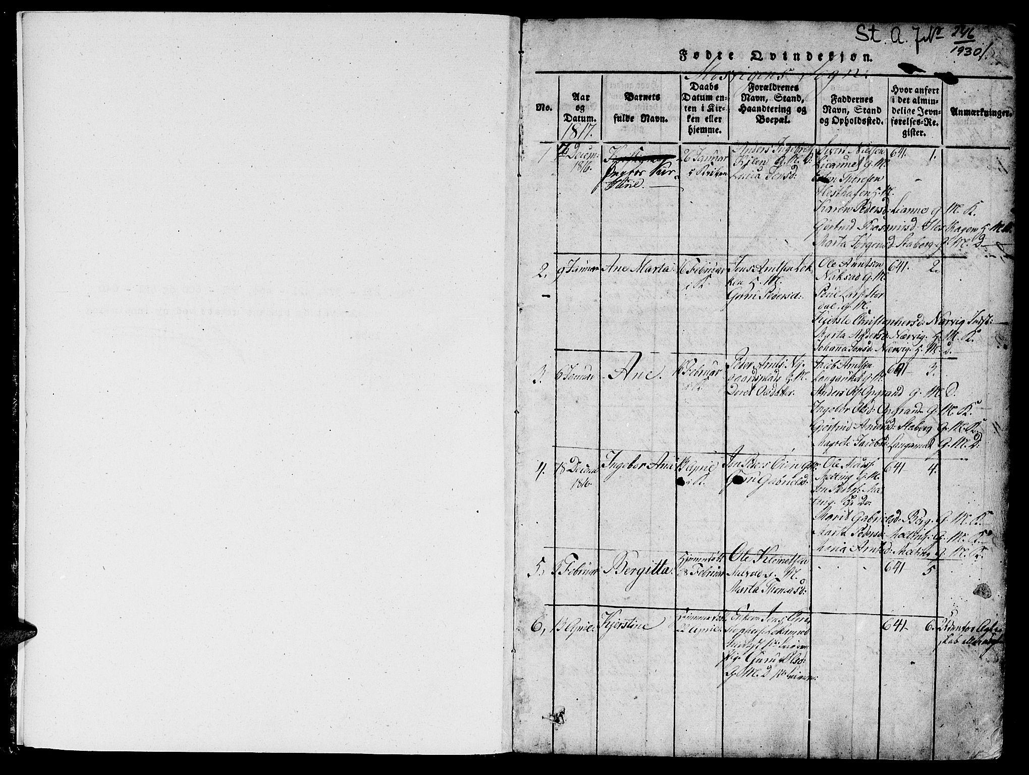 SAT, Ministerialprotokoller, klokkerbøker og fødselsregistre - Nord-Trøndelag, 733/L0322: Parish register (official) no. 733A01, 1817-1842, p. 0-1