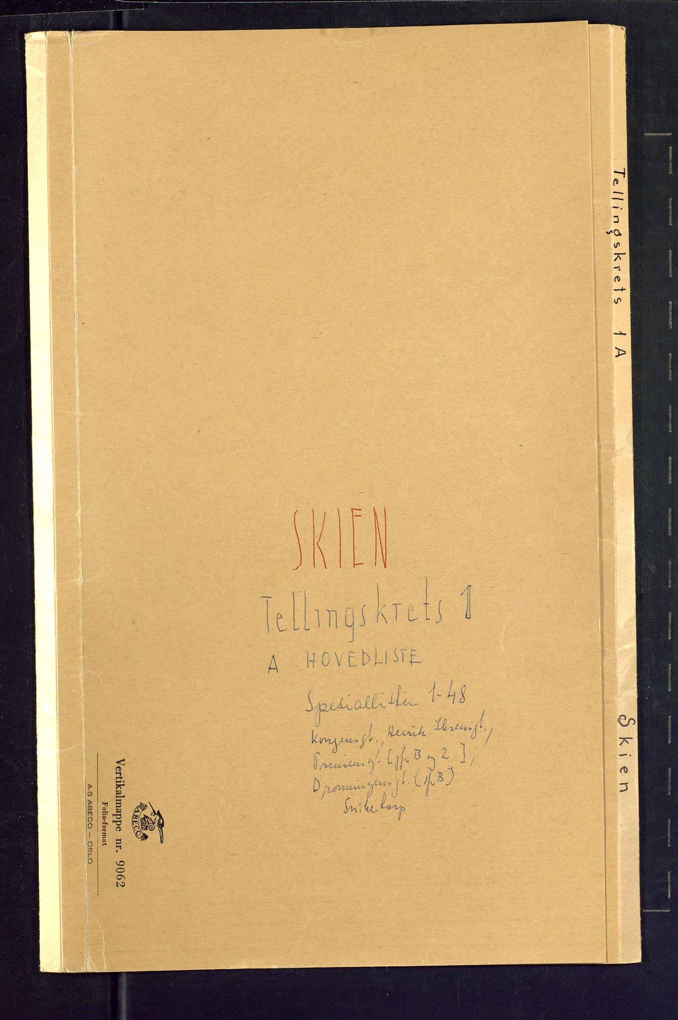 SAKO, 1875 census for 0806P Skien, 1875, p. 1