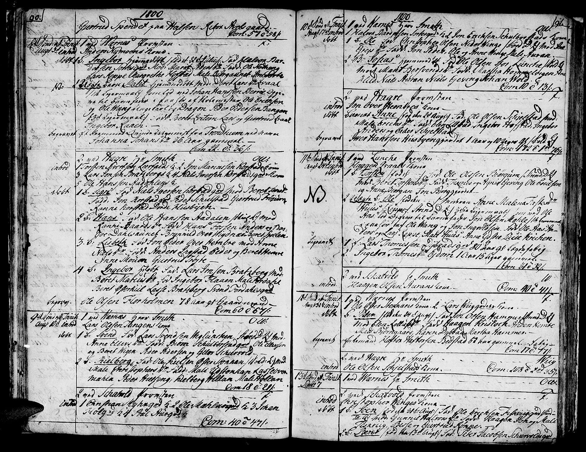SAT, Ministerialprotokoller, klokkerbøker og fødselsregistre - Nord-Trøndelag, 709/L0060: Parish register (official) no. 709A07, 1797-1815, p. 90-91
