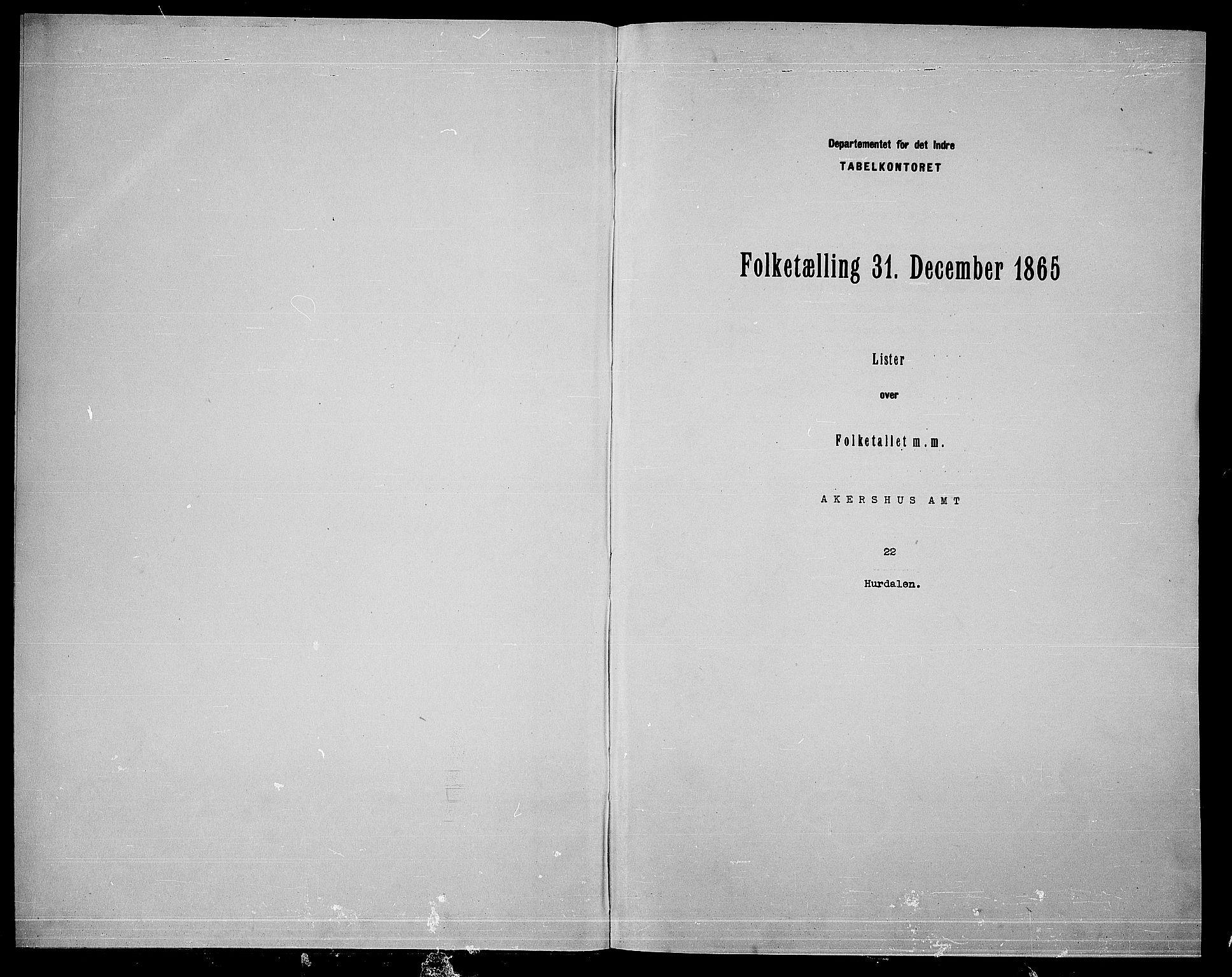 RA, 1865 census for Hurdal, 1865, p. 3