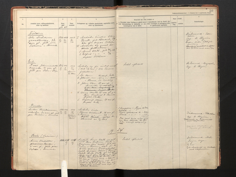SAB, Lensmannen i Innvik, 0006/L0005: Dødsfallprotokoll, 1921-1932, p. 29b-30a