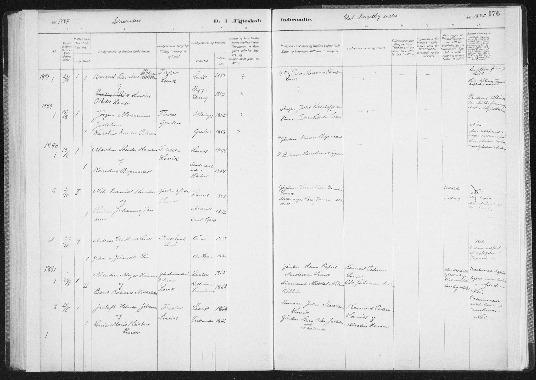 SAT, Ministerialprotokoller, klokkerbøker og fødselsregistre - Nordland, 898/L1422: Parish register (official) no. 898A02, 1887-1908, p. 176