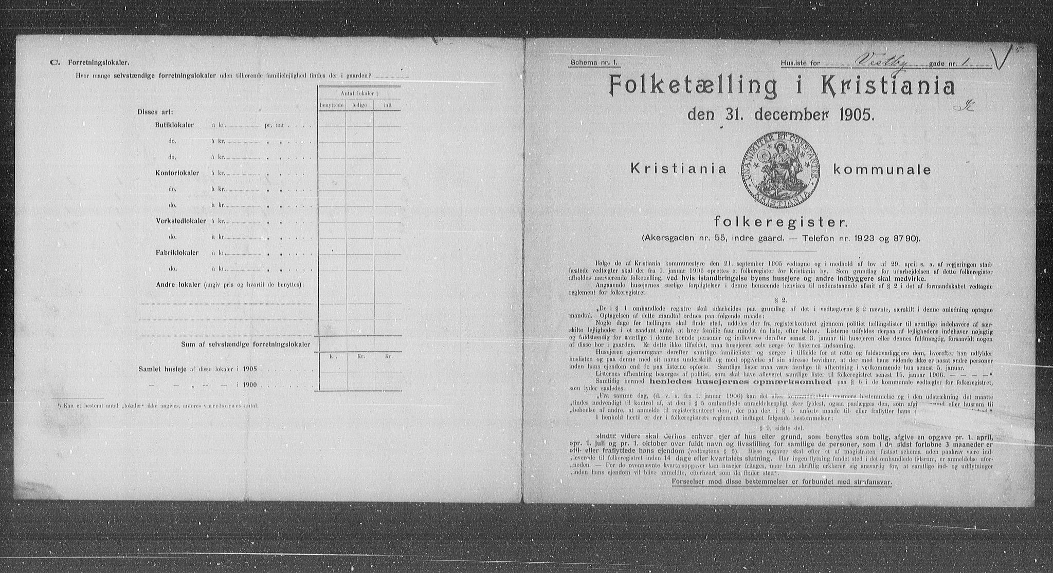 OBA, Municipal Census 1905 for Kristiania, 1905, p. 64311