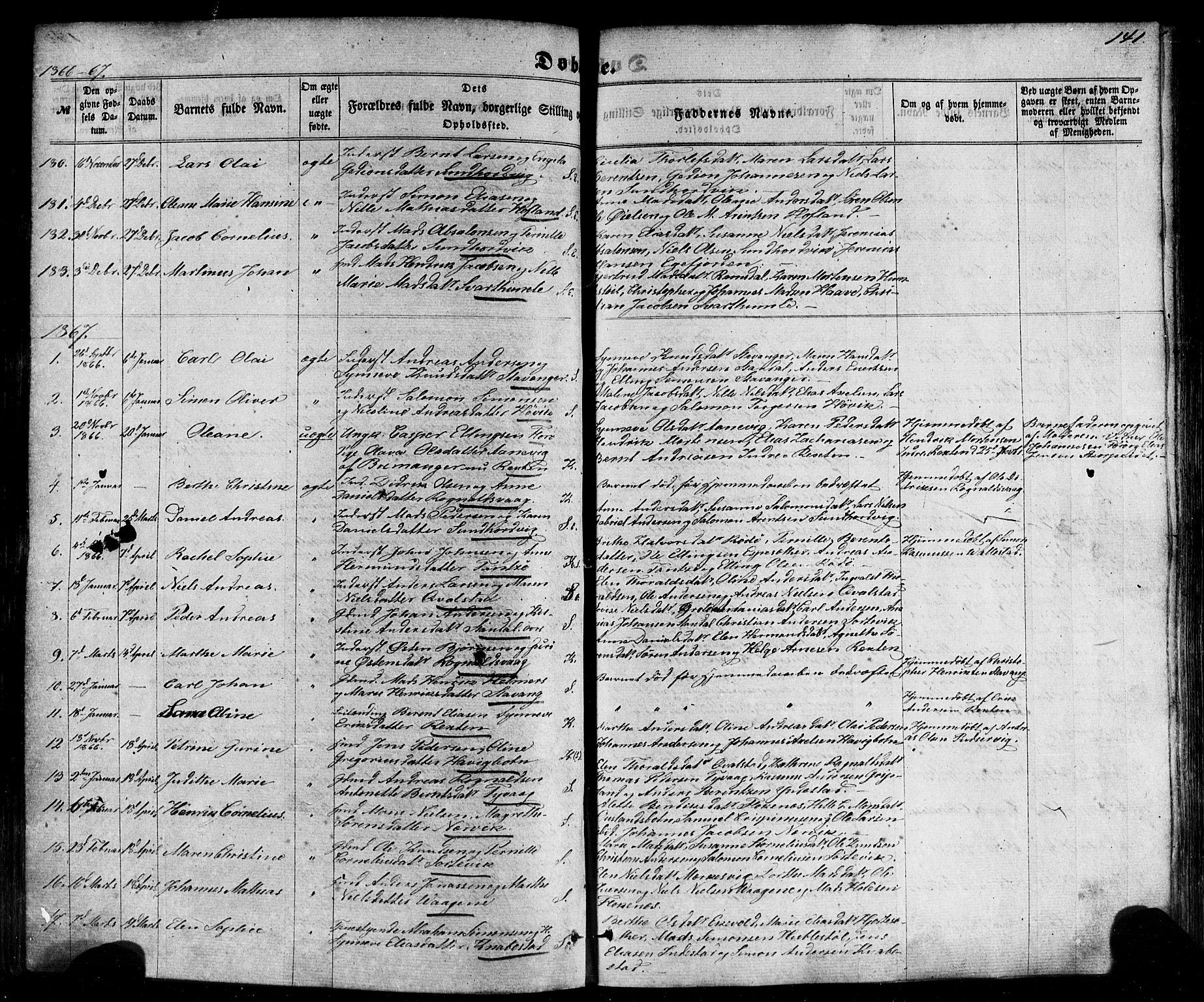 SAB, Kinn sokneprestembete, H/Haa/Haaa/L0006: Parish register (official) no. A 6, 1857-1885, p. 141