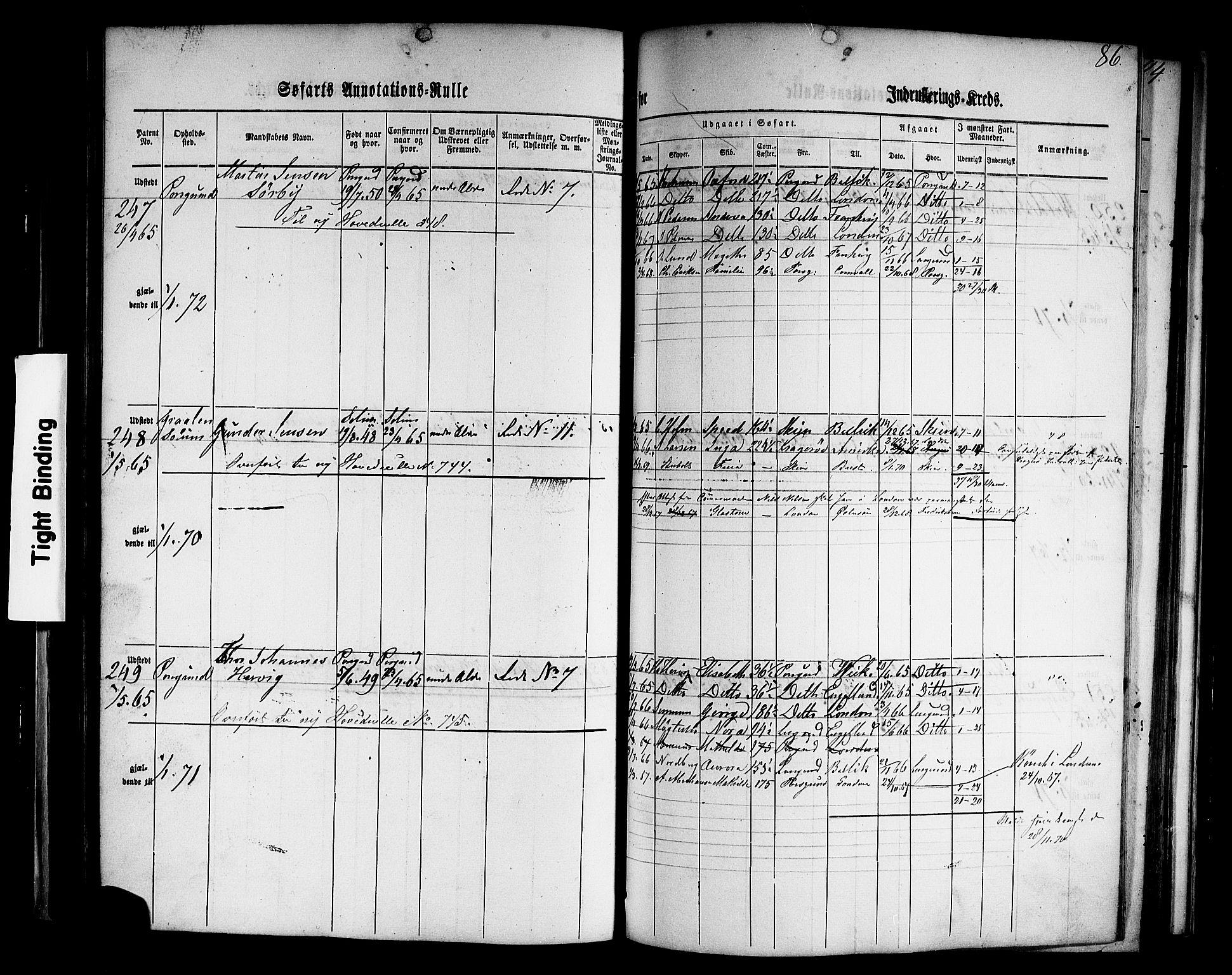 SAKO, Porsgrunn innrulleringskontor, F/Fb/L0001: Annotasjonsrulle, 1860-1868, p. 115