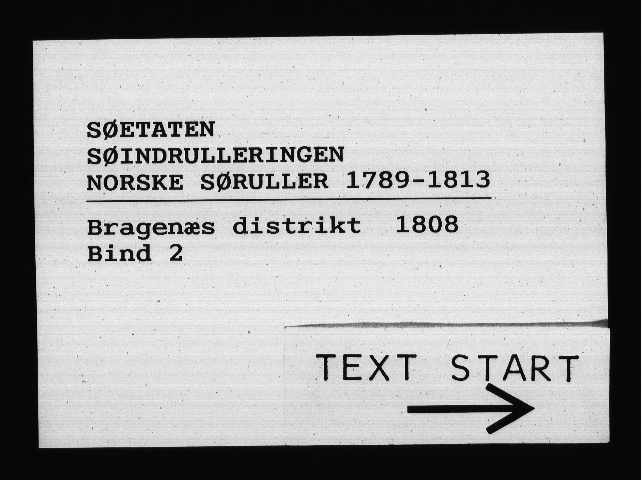 RA, Sjøetaten, F/L0153: Bragernes distrikt, bind 2, 1808