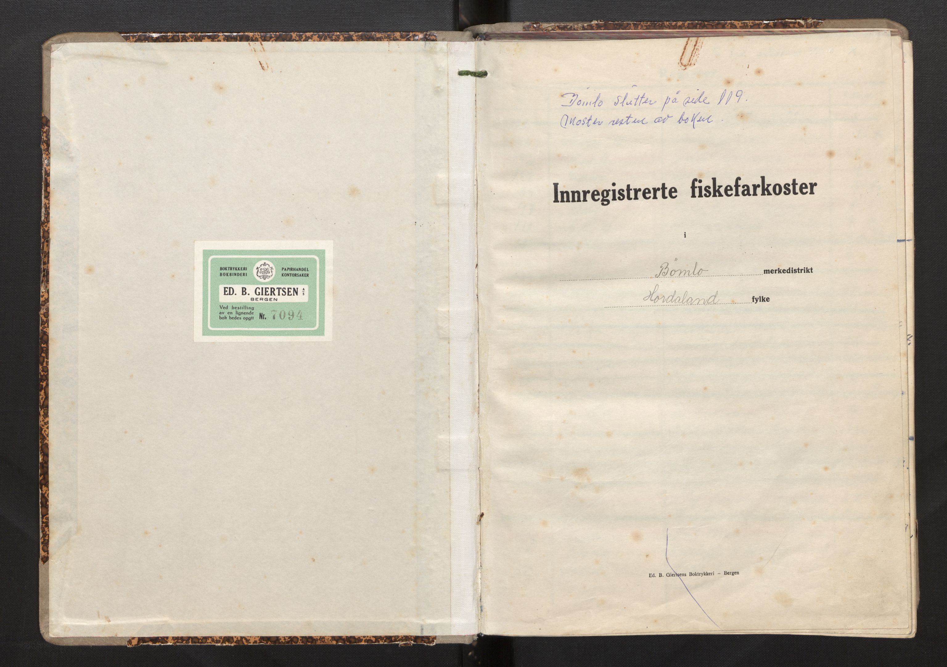 SAB, Fiskeridirektoratet - 1 Adm. ledelse - 13 Båtkontoret, I/Ia/Iah/L0028: 135.0809/2 Merkeprotokoll - Bømlo, 1944-1963