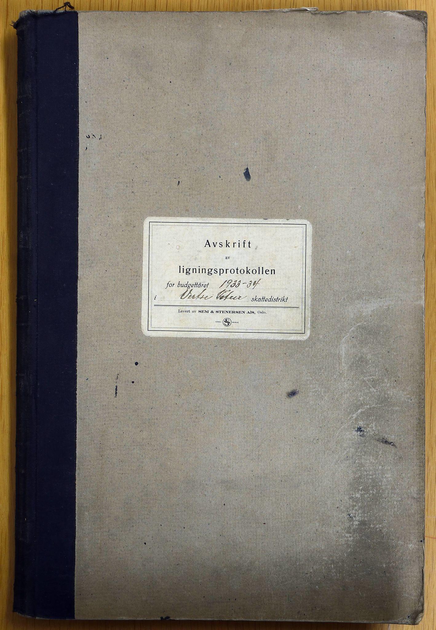 KVT, Vestre Toten municipality archive – Vestre Toten, Tax assessment protocol 1933-1934, 1933-1934