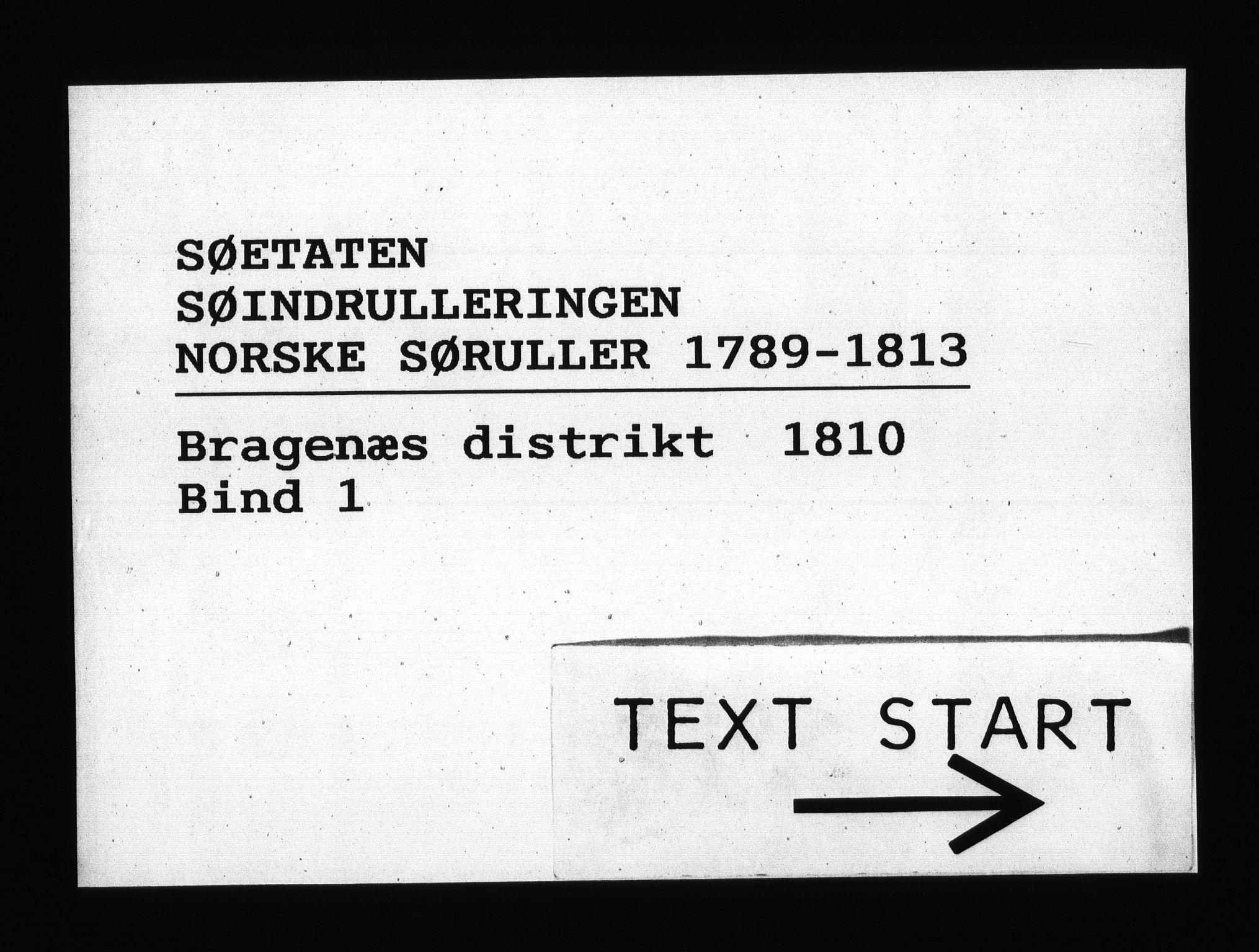 RA, Sjøetaten, F/L0157: Bragernes distrikt, bind 1, 1810