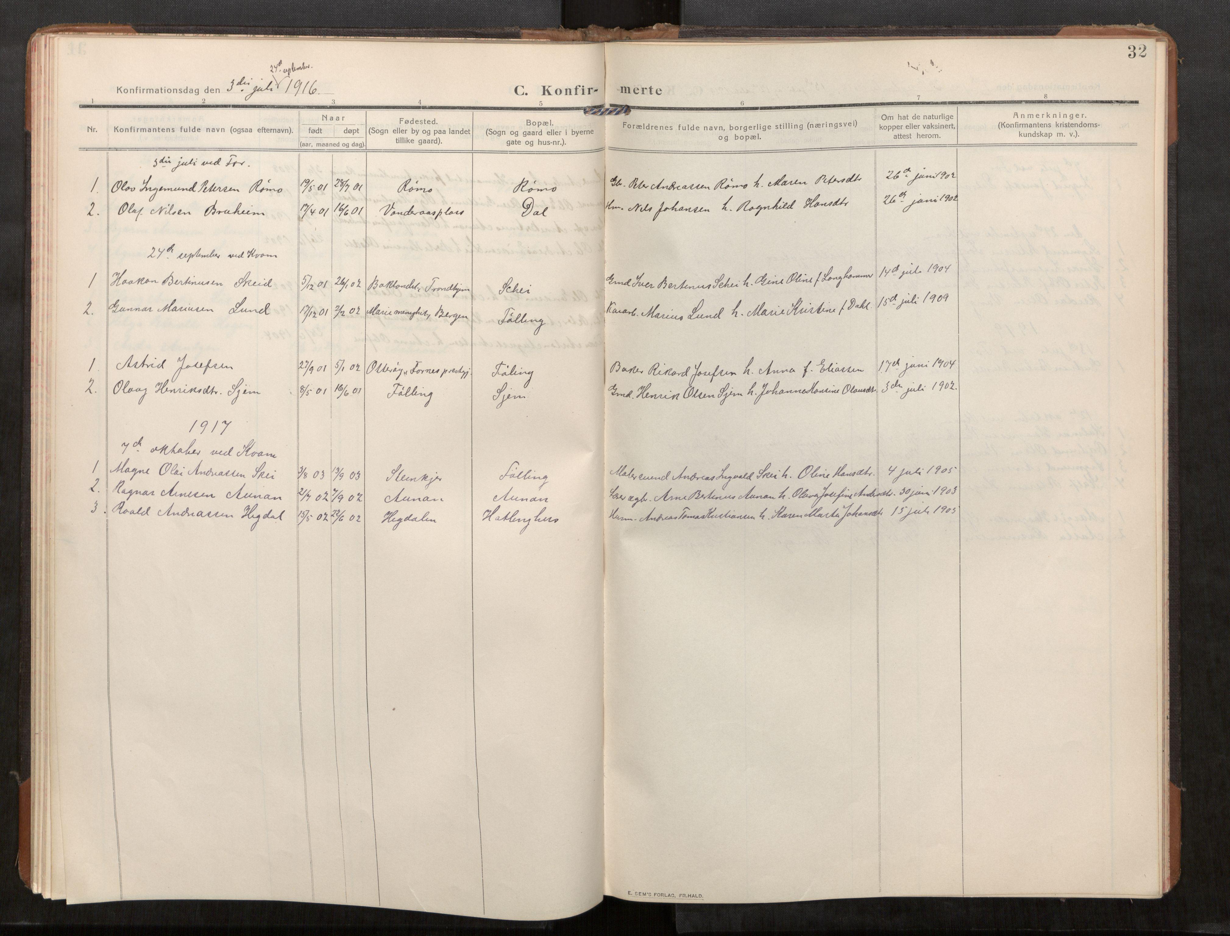 SAT, Stod sokneprestkontor, I/I1/I1a/L0003: Parish register (official) no. 3, 1909-1934, p. 32