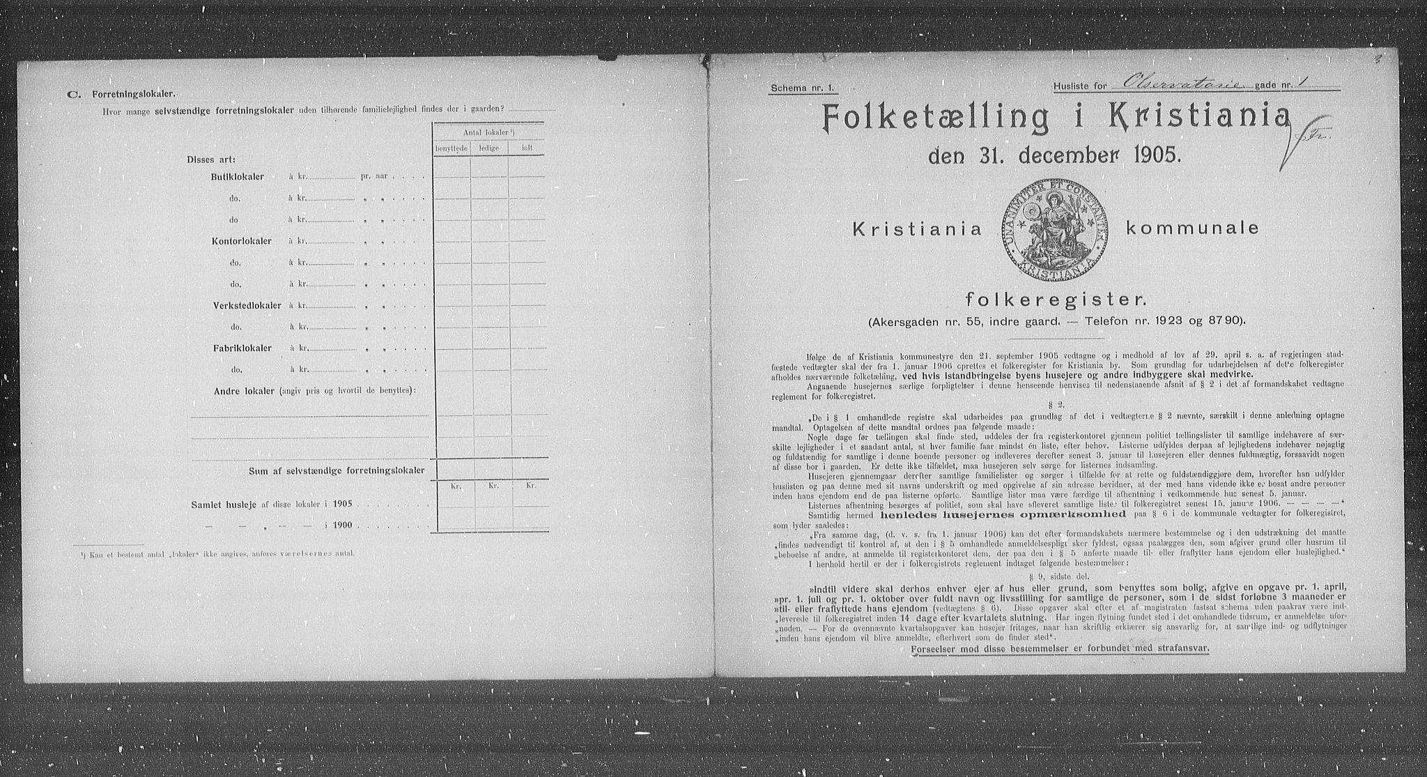 OBA, Municipal Census 1905 for Kristiania, 1905, p. 39061