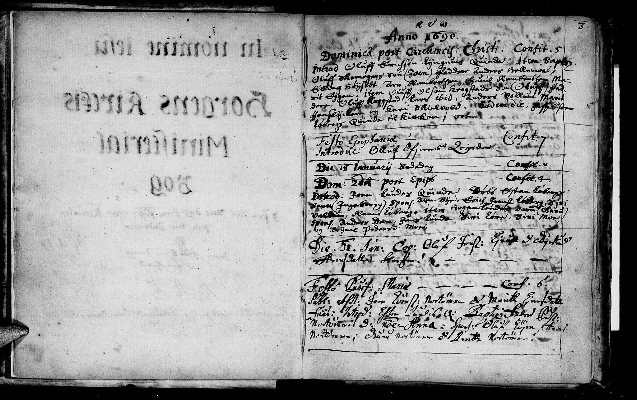 SAT, Ministerialprotokoller, klokkerbøker og fødselsregistre - Sør-Trøndelag, 692/L1101: Parish register (official) no. 692A01, 1690-1746, p. 3