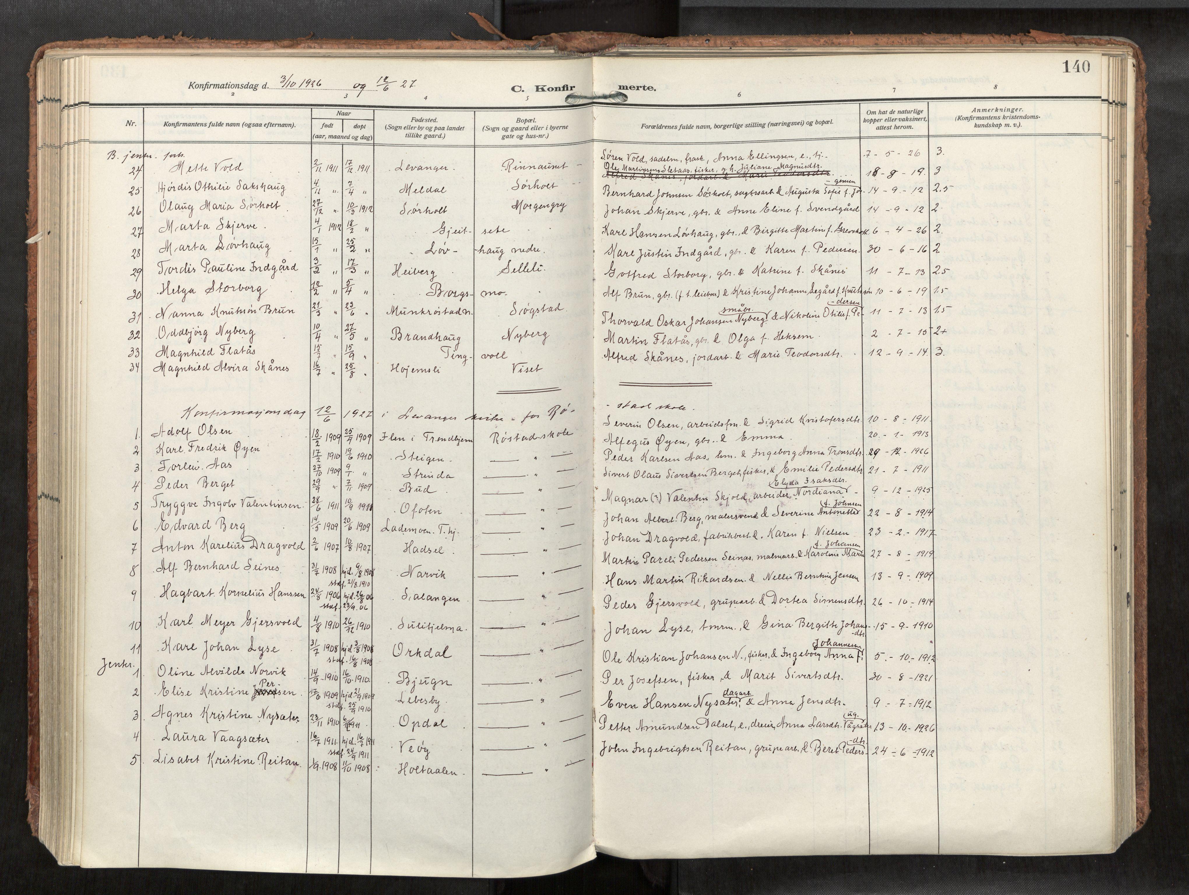 SAT, Levanger sokneprestkontor*, Parish register (official) no. 1, 1912-1935, p. 140