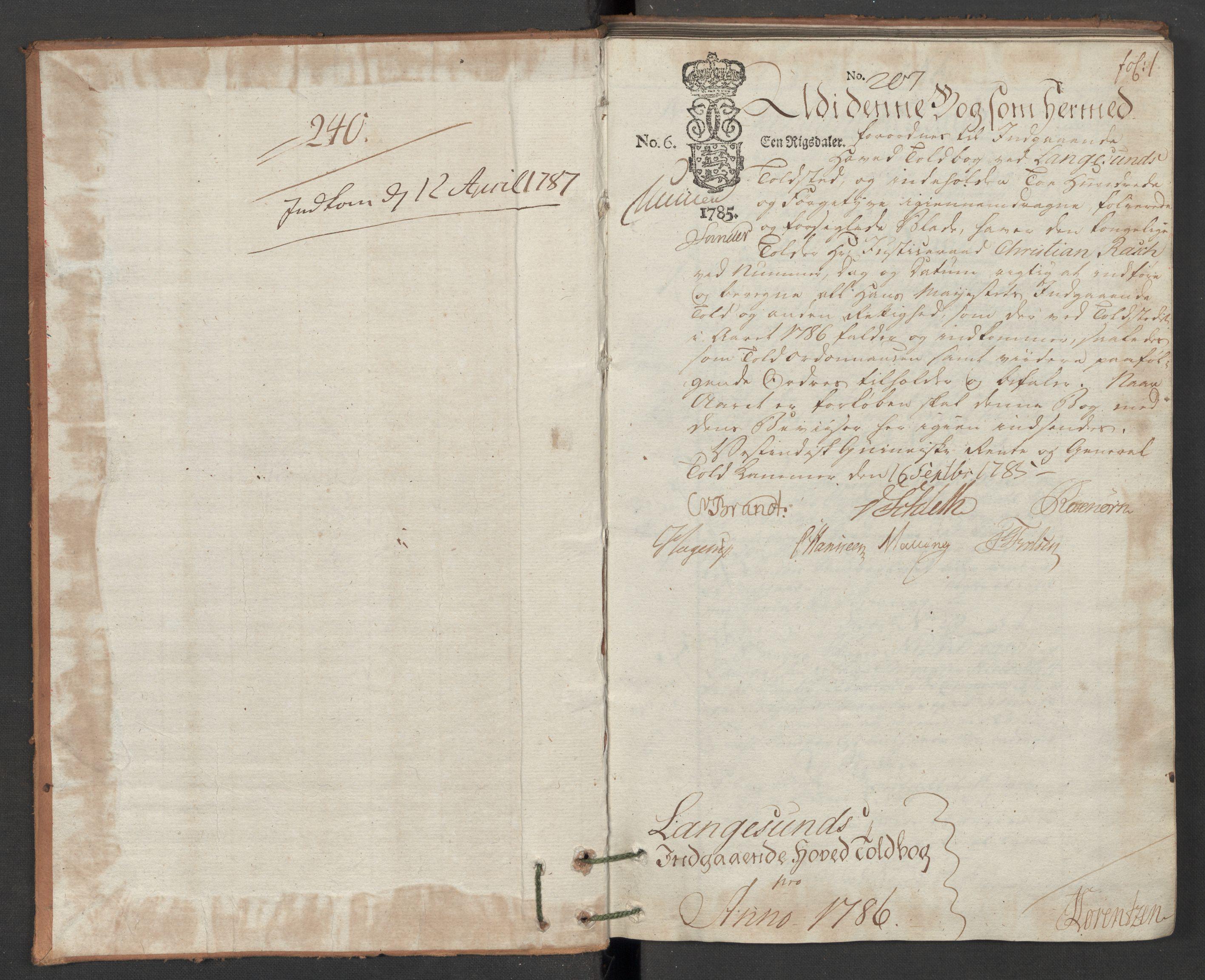 RA, Generaltollkammeret, tollregnskaper, R12/L0118: Tollregnskaper Langesund, 1786, p. 1a