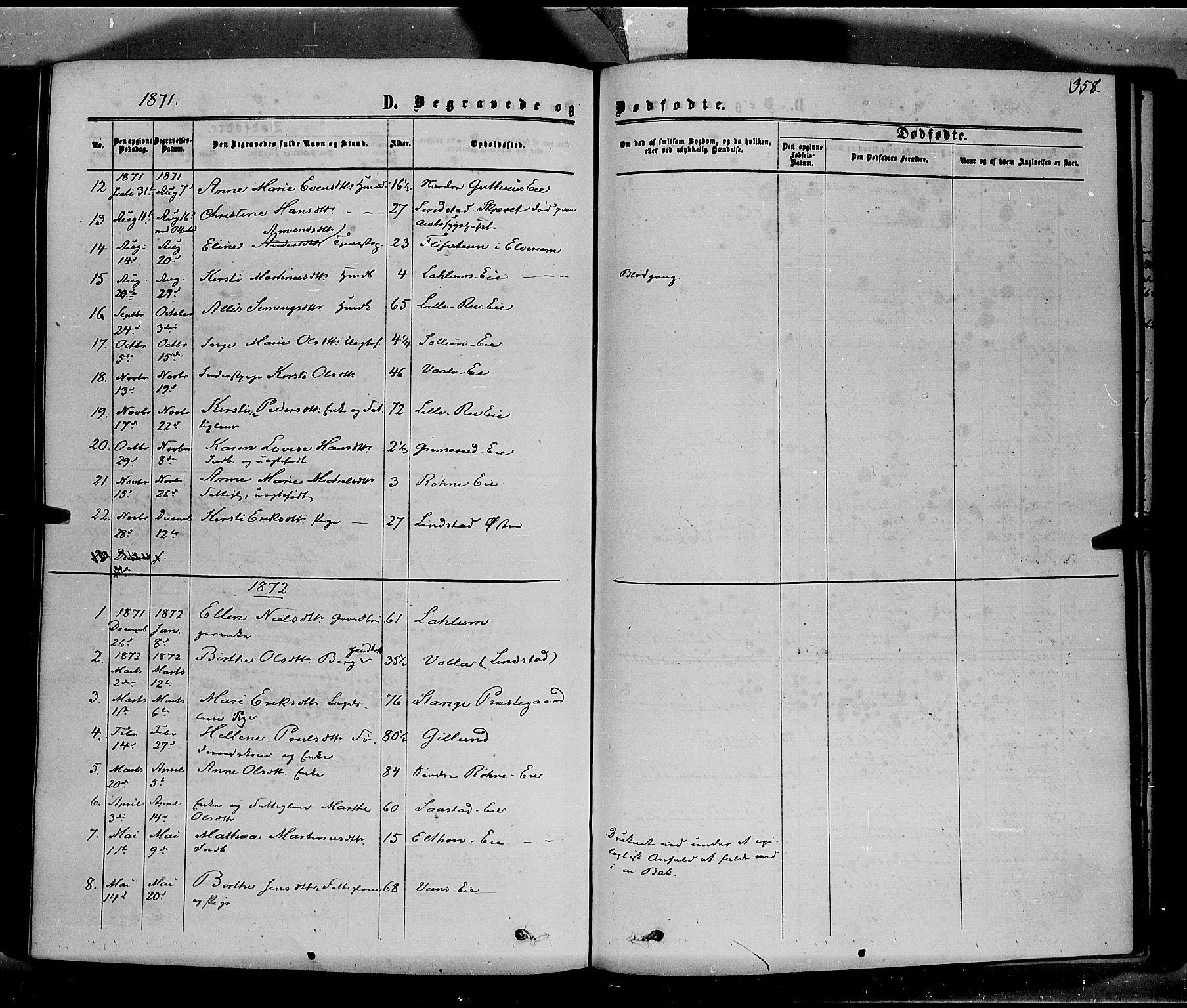 SAH, Stange prestekontor, K/L0013: Parish register (official) no. 13, 1862-1879, p. 358