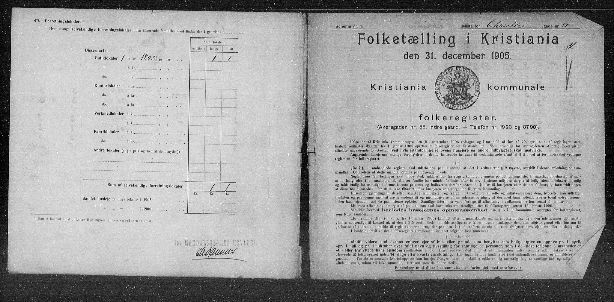 OBA, Municipal Census 1905 for Kristiania, 1905, p. 6509