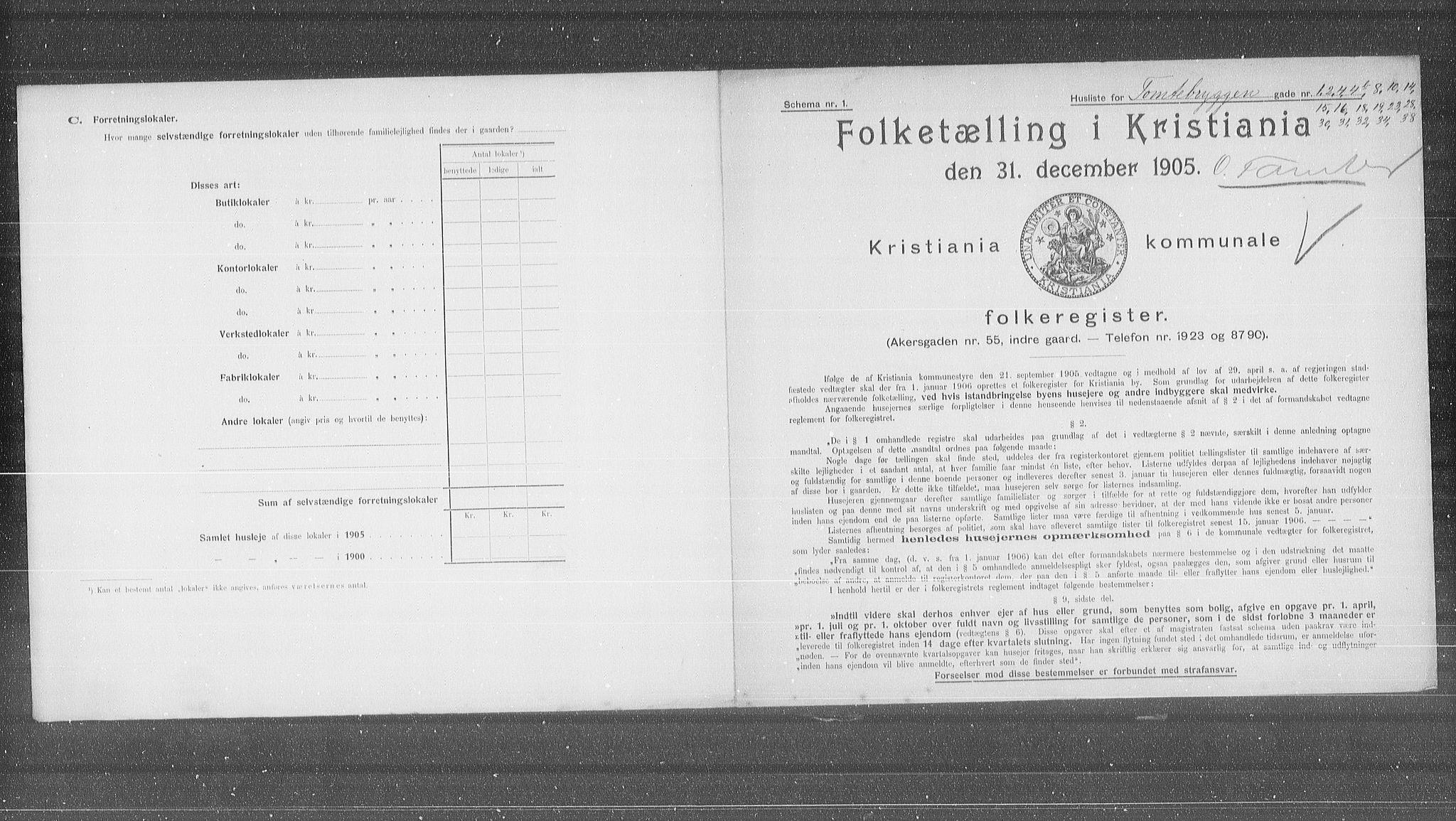 OBA, Municipal Census 1905 for Kristiania, 1905, p. 59439