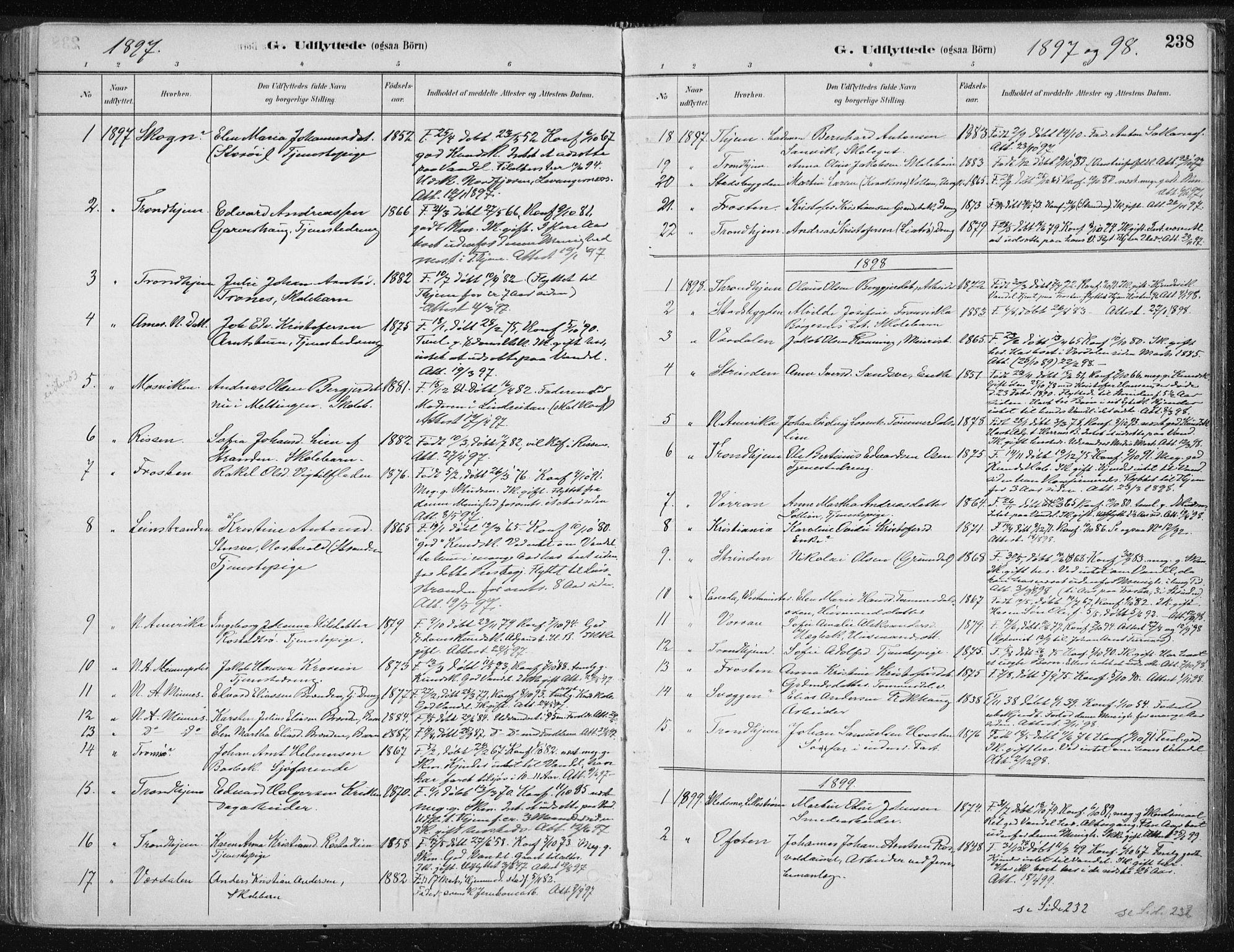 SAT, Ministerialprotokoller, klokkerbøker og fødselsregistre - Nord-Trøndelag, 701/L0010: Parish register (official) no. 701A10, 1883-1899, p. 238