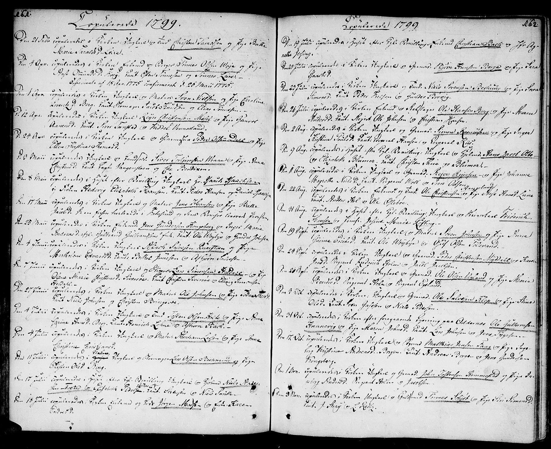 SAK, Kristiansand domprosti, F/Fa/L0005: Parish register (official) no. A 5, 1776-1818, p. 161-162