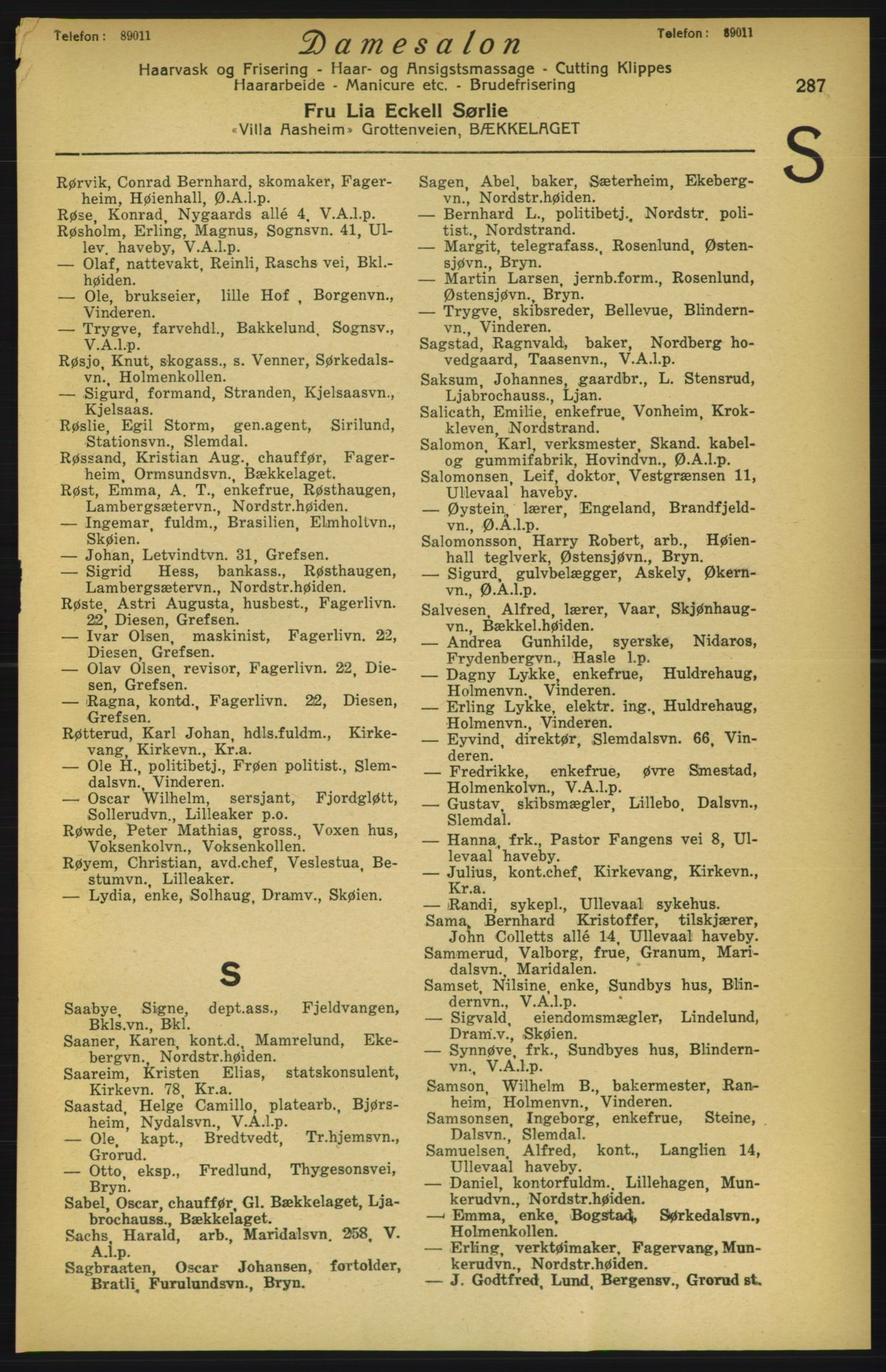 RA, Aker adressebok/adressekalender (publikasjon)*, 1924-1925, p. 287