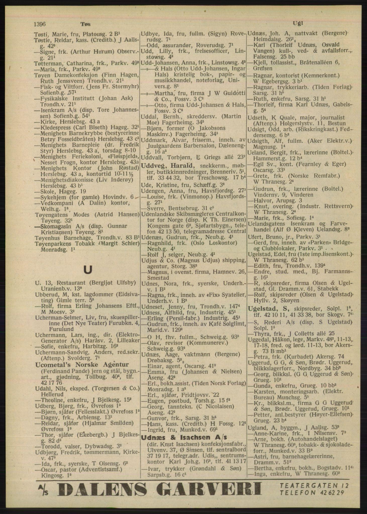 PUBL, Kristiania/Oslo adressebok, 1948, p. 1396