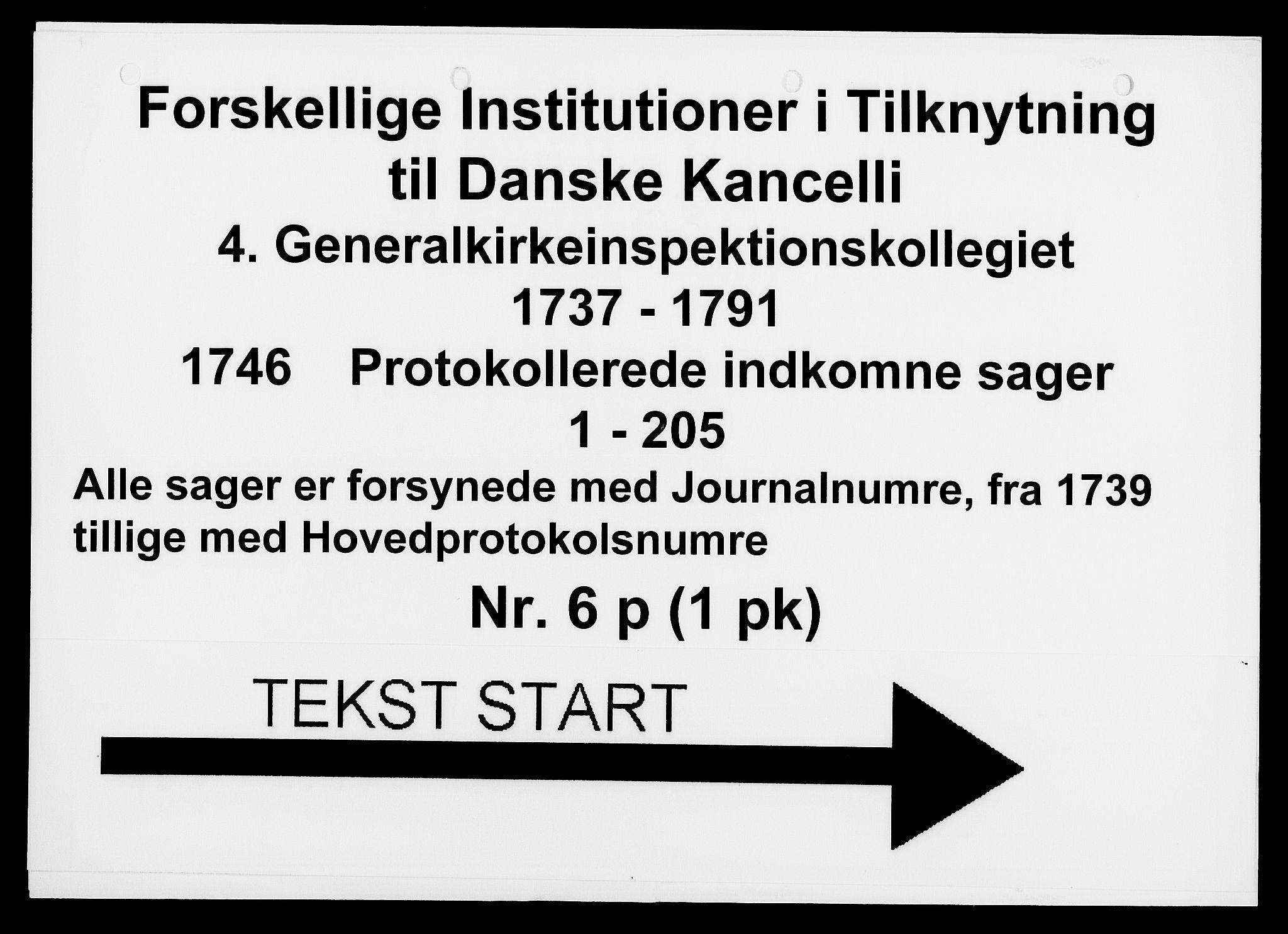 DRA, Generalkirkeinspektionskollegiet, F4-06/F4-06-16: Protokollerede indkomne sager, 1746