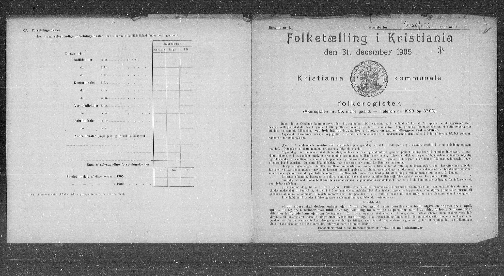 OBA, Municipal Census 1905 for Kristiania, 1905, p. 64346