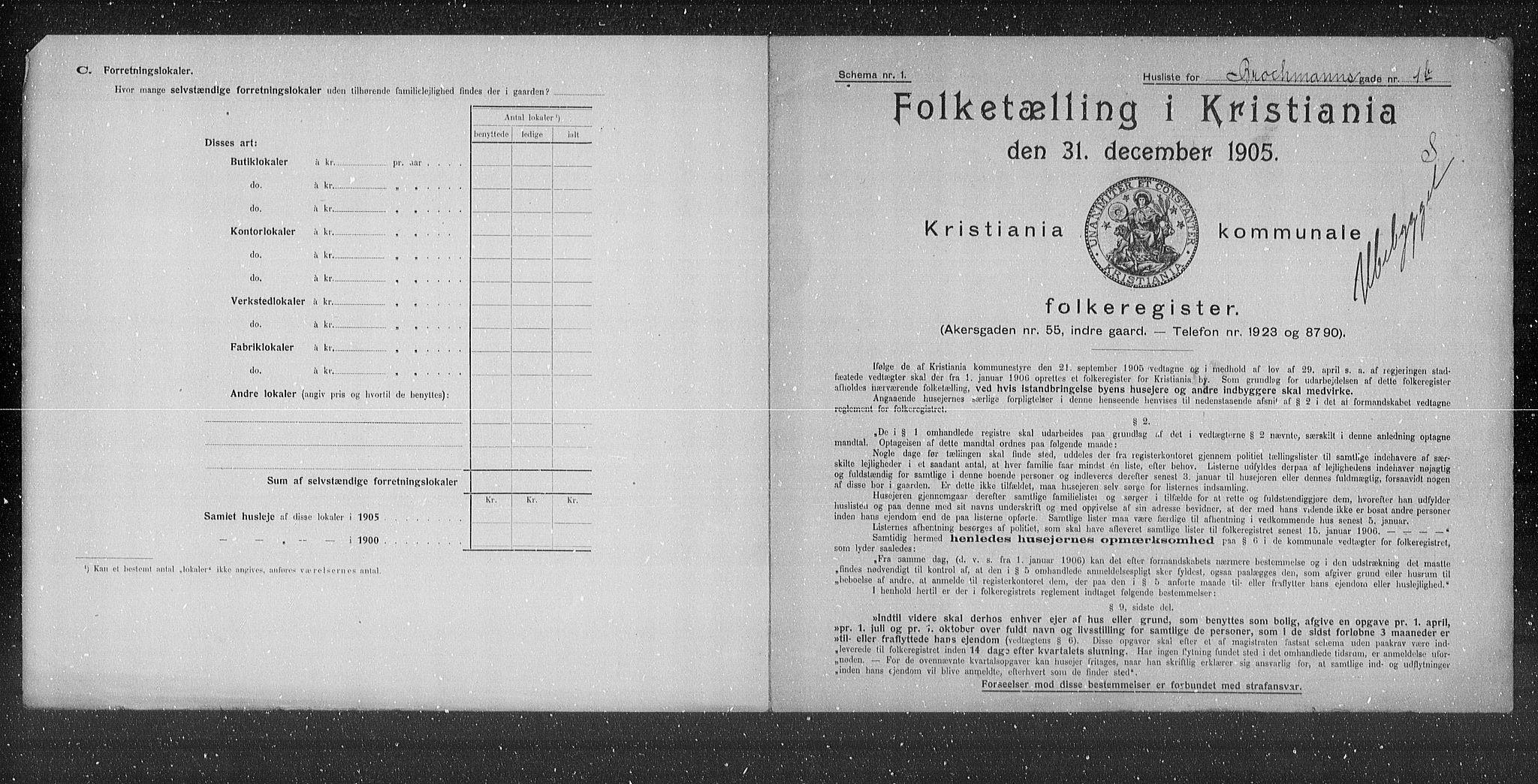 OBA, Municipal Census 1905 for Kristiania, 1905, p. 4854