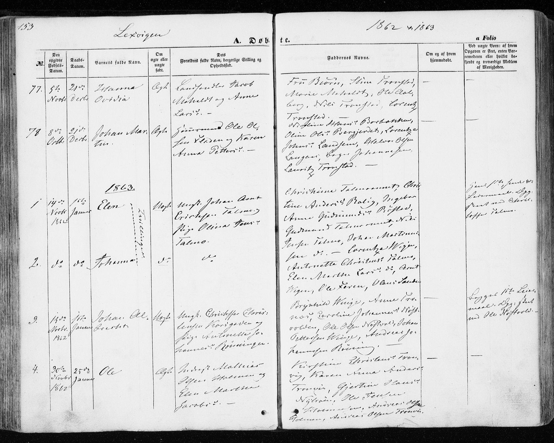 SAT, Ministerialprotokoller, klokkerbøker og fødselsregistre - Nord-Trøndelag, 701/L0008: Parish register (official) no. 701A08 /1, 1854-1863, p. 153