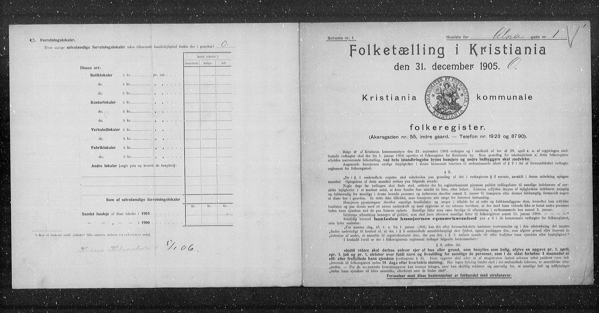 OBA, Municipal Census 1905 for Kristiania, 1905, p. 595