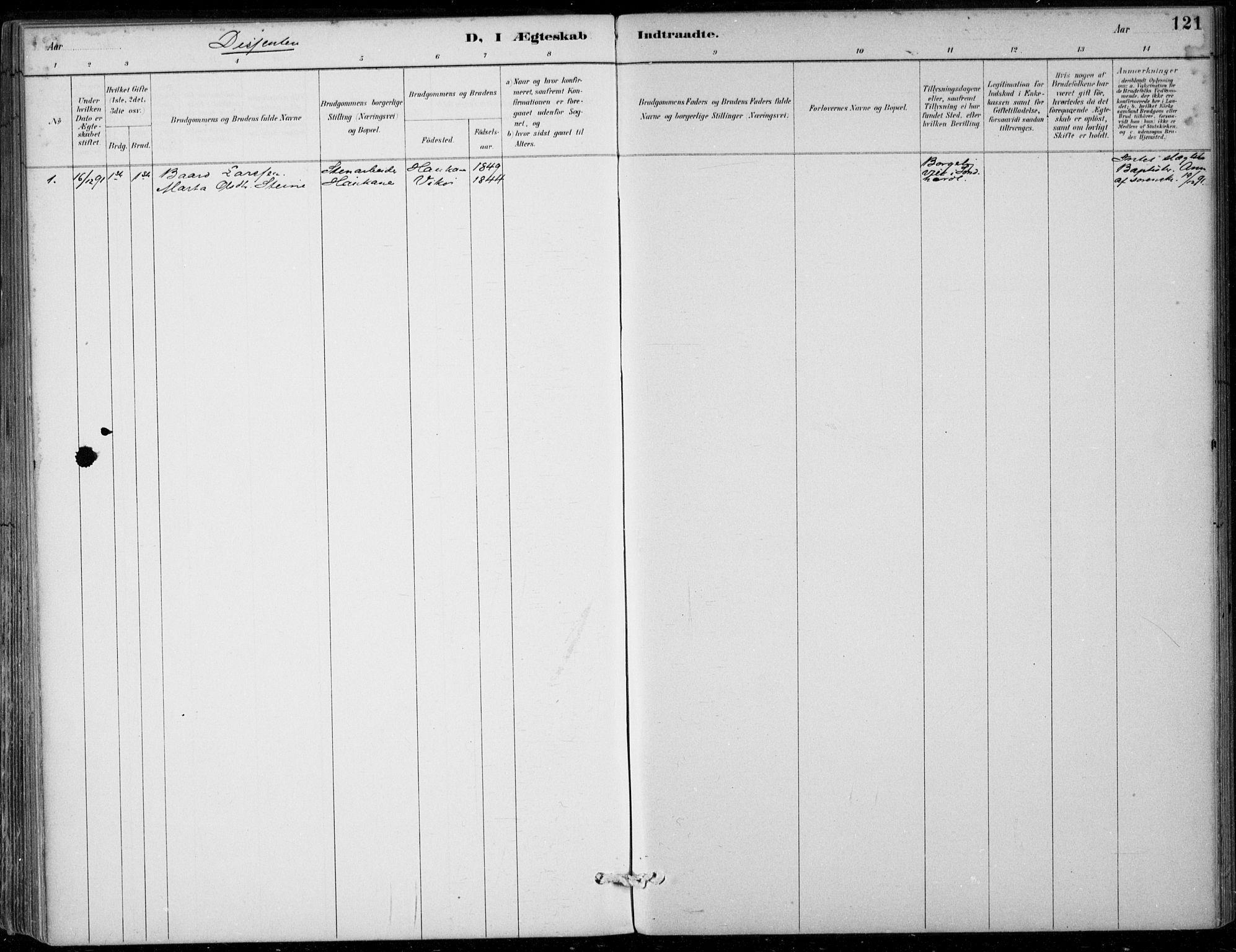SAB, Strandebarm sokneprestembete, H/Haa: Parish register (official) no. D  1, 1886-1912, p. 121
