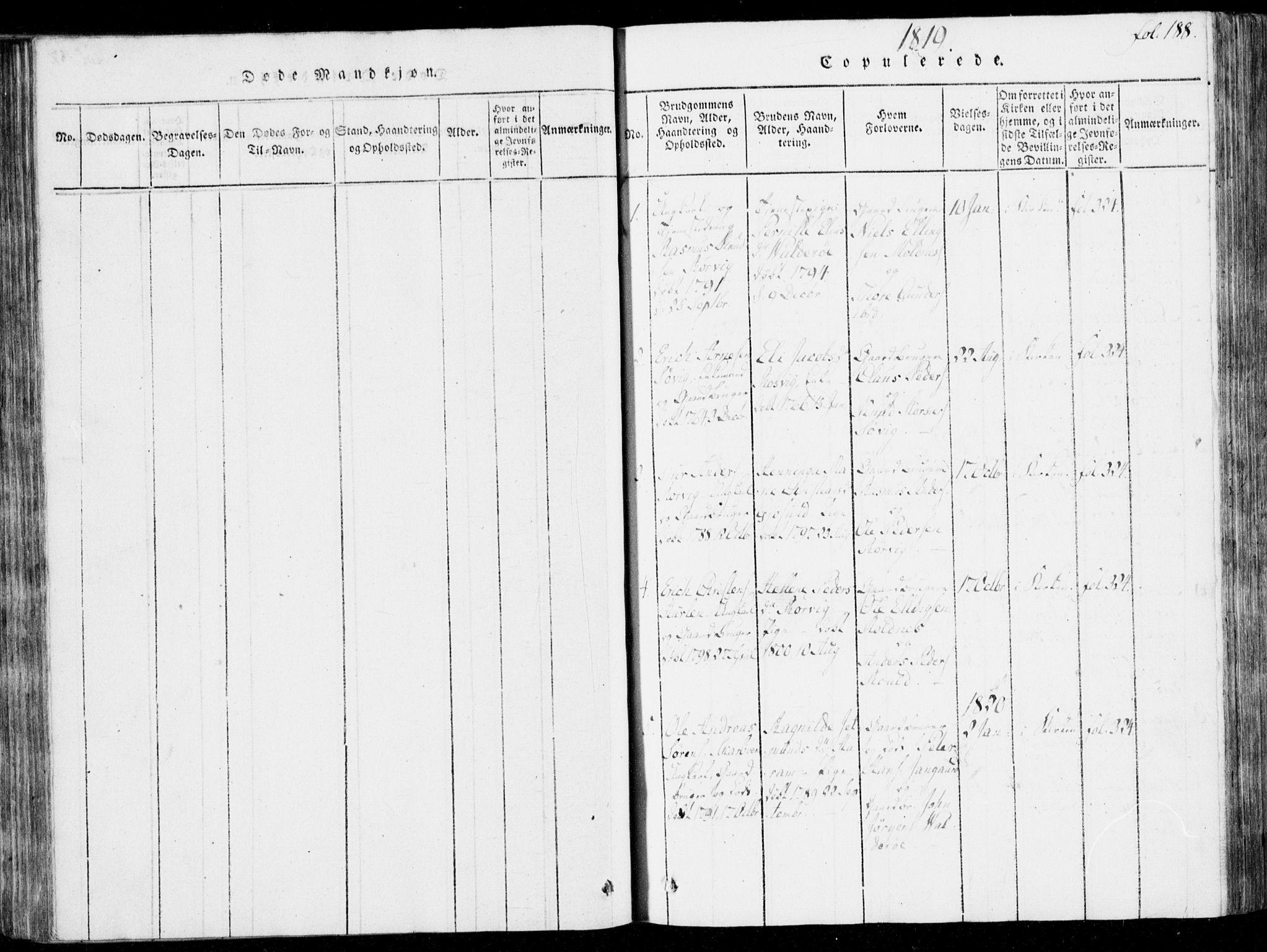SAT, Ministerialprotokoller, klokkerbøker og fødselsregistre - Møre og Romsdal, 537/L0517: Parish register (official) no. 537A01, 1818-1862, p. 188