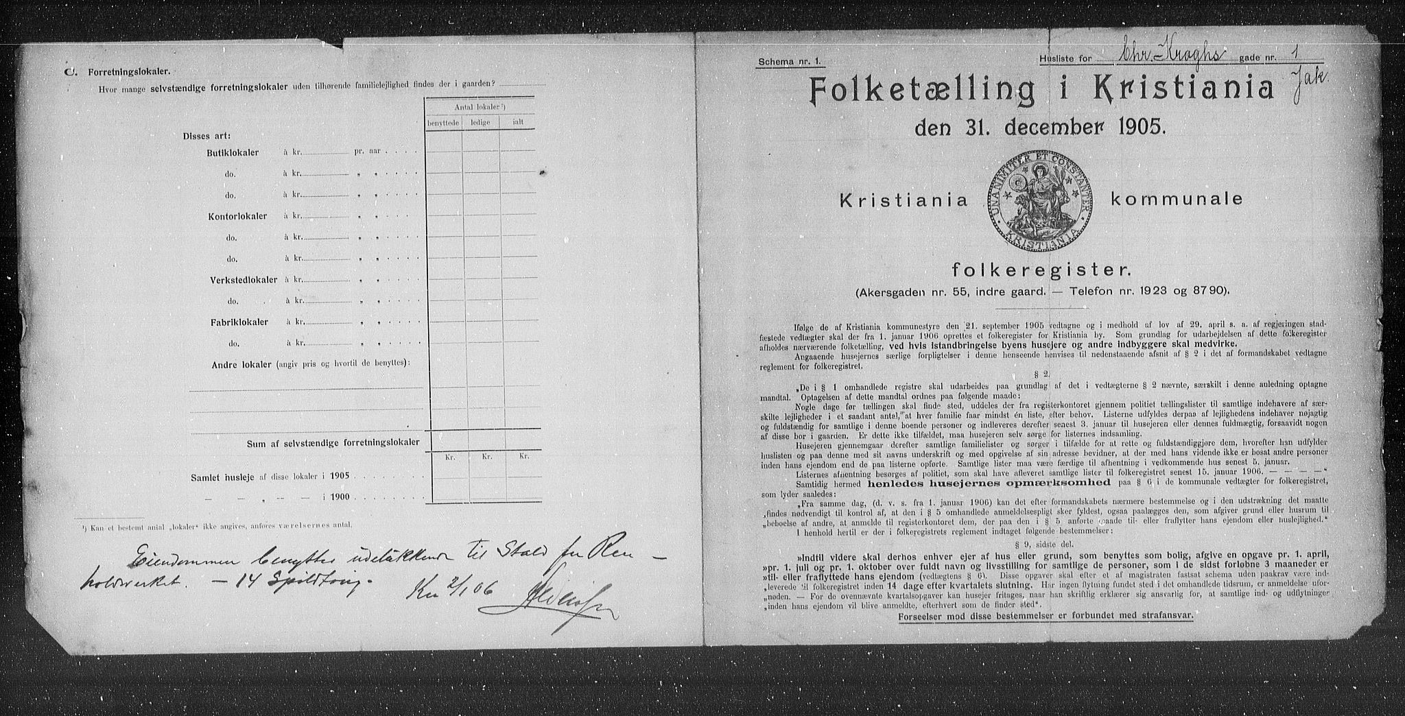 OBA, Municipal Census 1905 for Kristiania, 1905, p. 6153