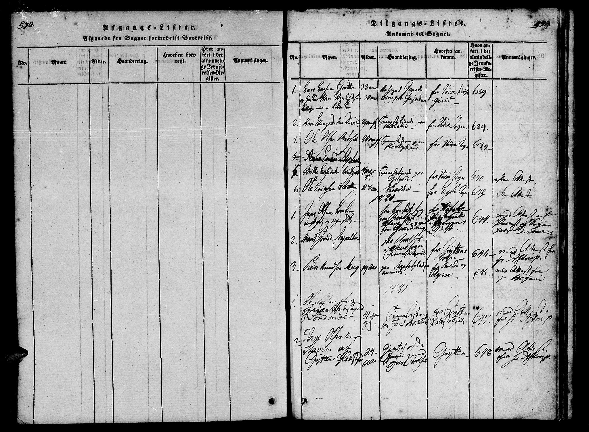 SAT, Ministerialprotokoller, klokkerbøker og fødselsregistre - Møre og Romsdal, 557/L0679: Parish register (official) no. 557A01, 1818-1843, p. 594-595