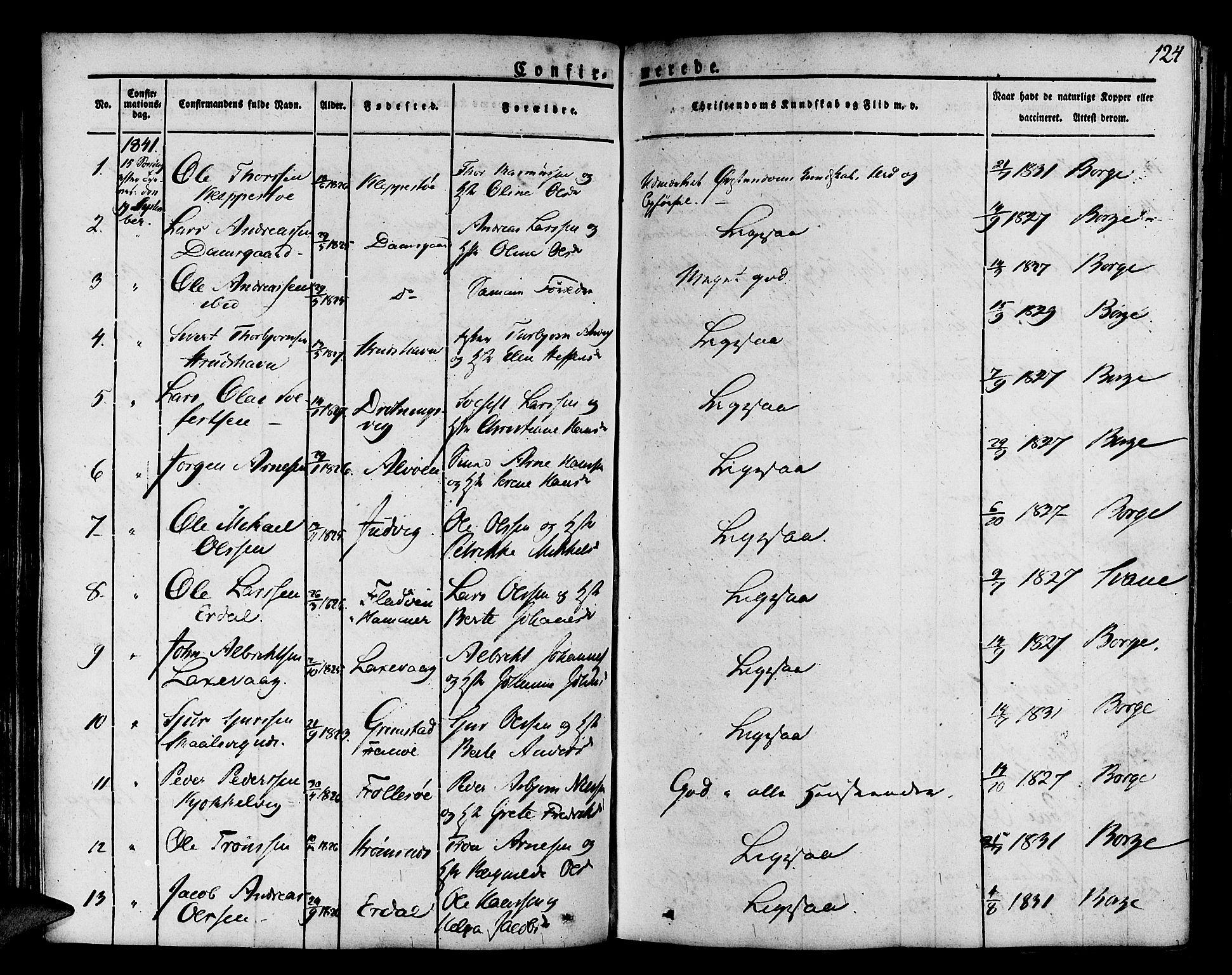 SAB, Askøy Sokneprestembete, H/Ha/Haa/Haaa/L0004: Parish register (official) no. A 4, 1825-1845, p. 124