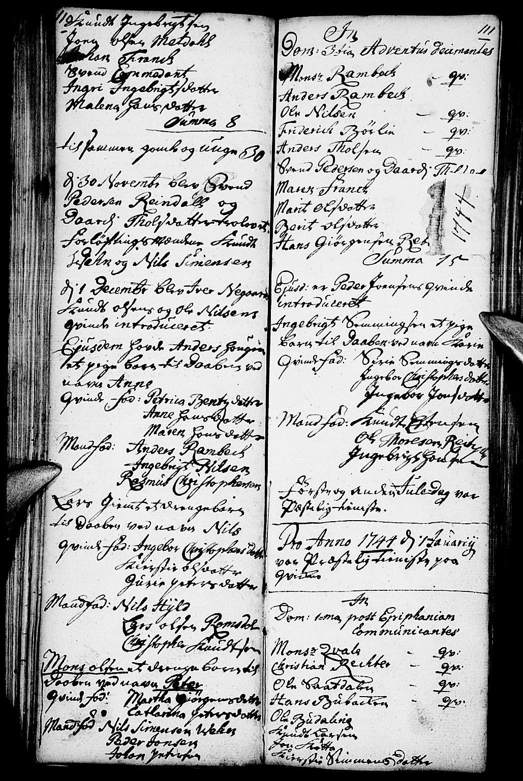 SAH, Kvikne prestekontor, Parish register (official) no. 1, 1740-1756, p. 110-111
