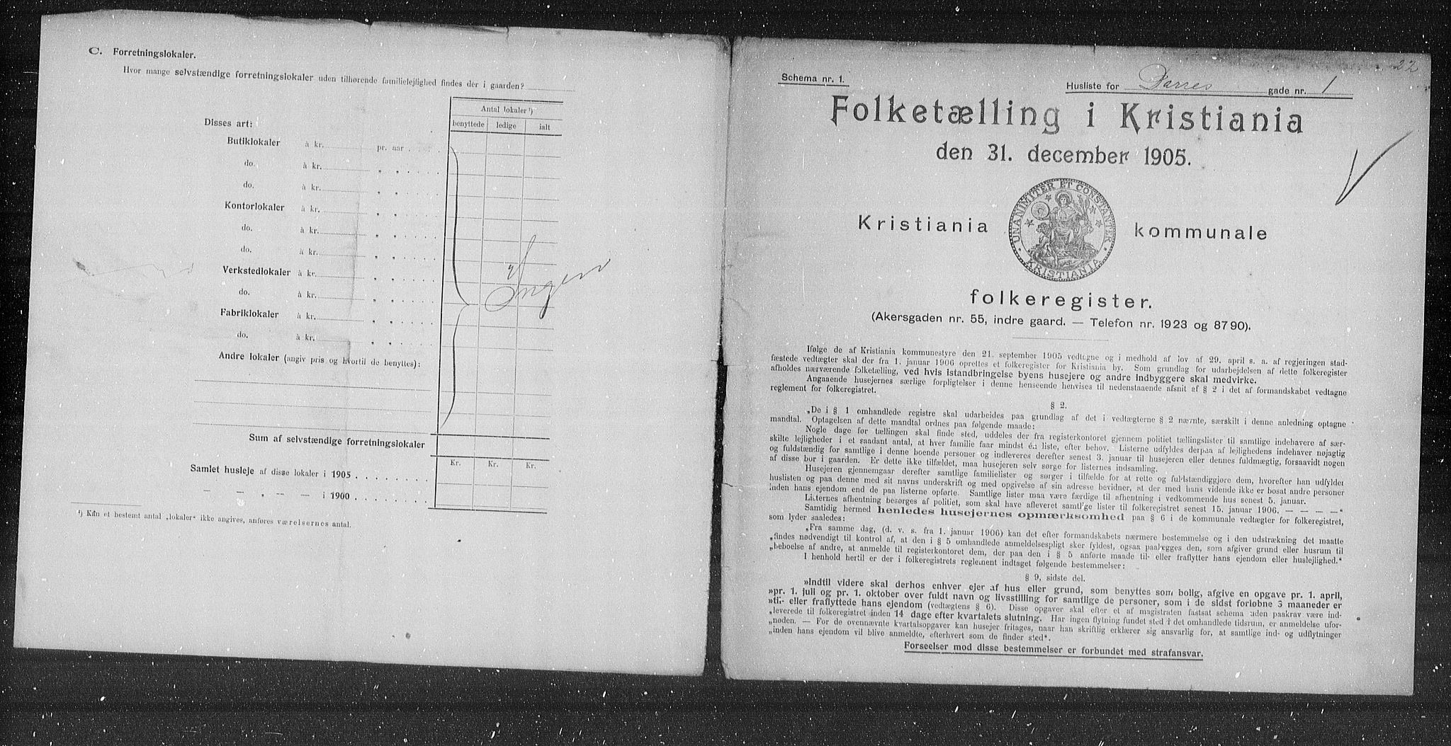 OBA, Municipal Census 1905 for Kristiania, 1905, p. 7962