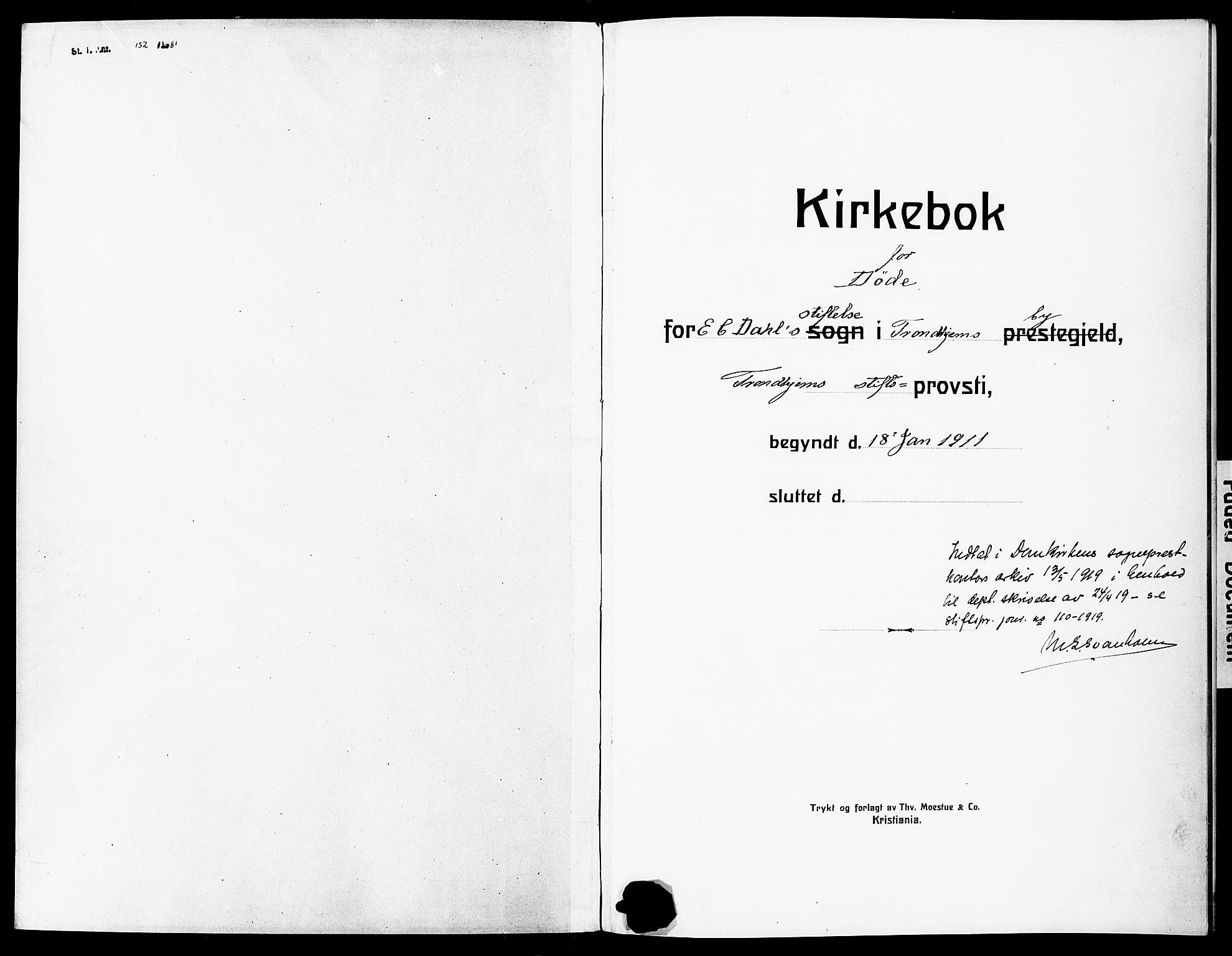 SAT, Ministerialprotokoller, klokkerbøker og fødselsregistre - Sør-Trøndelag, 600/L0001: Parish register (official) no. 600A01, 1911-1918