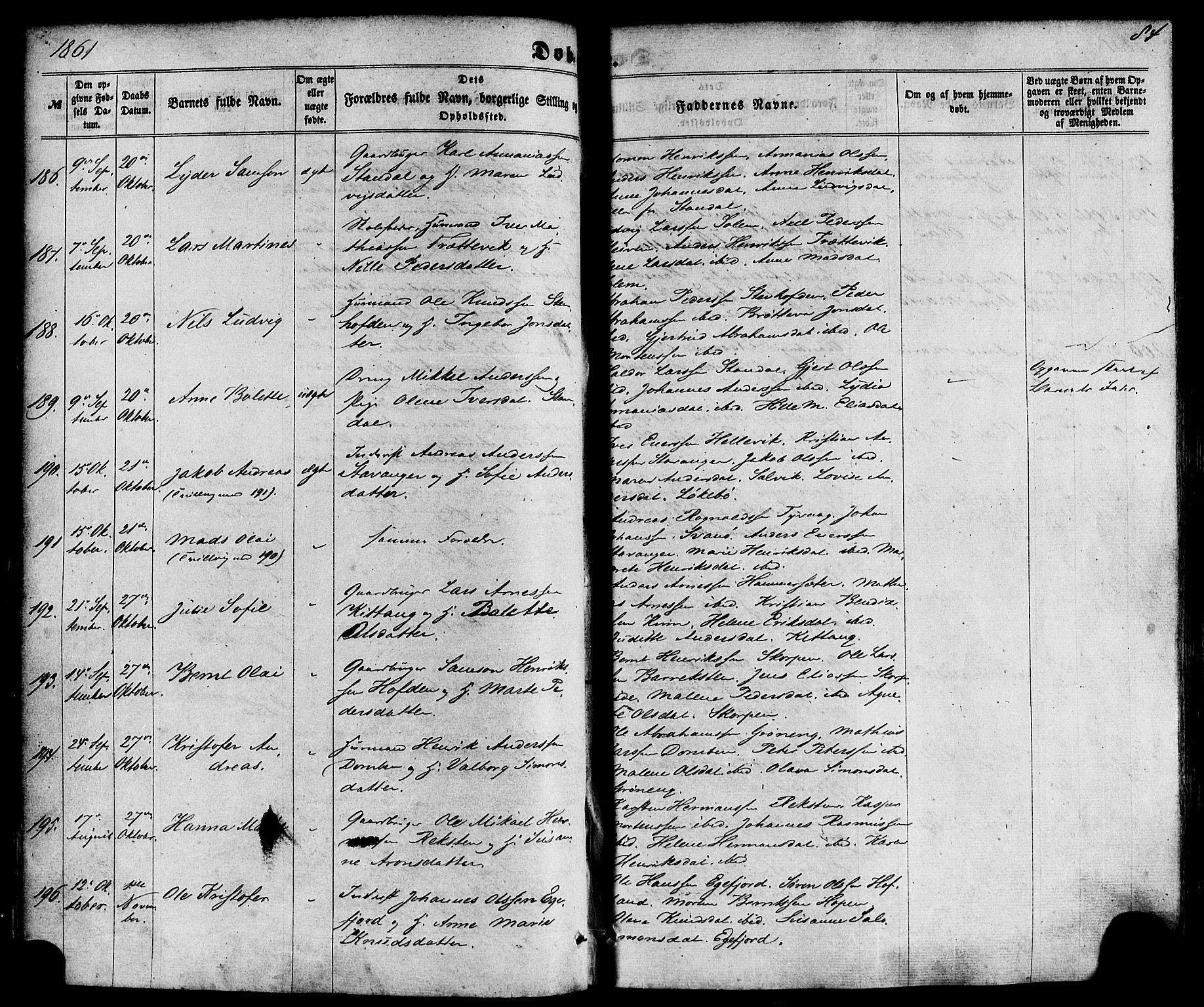 SAB, Kinn Sokneprestembete, Parish register (official) no. A 6, 1857-1885, p. 84