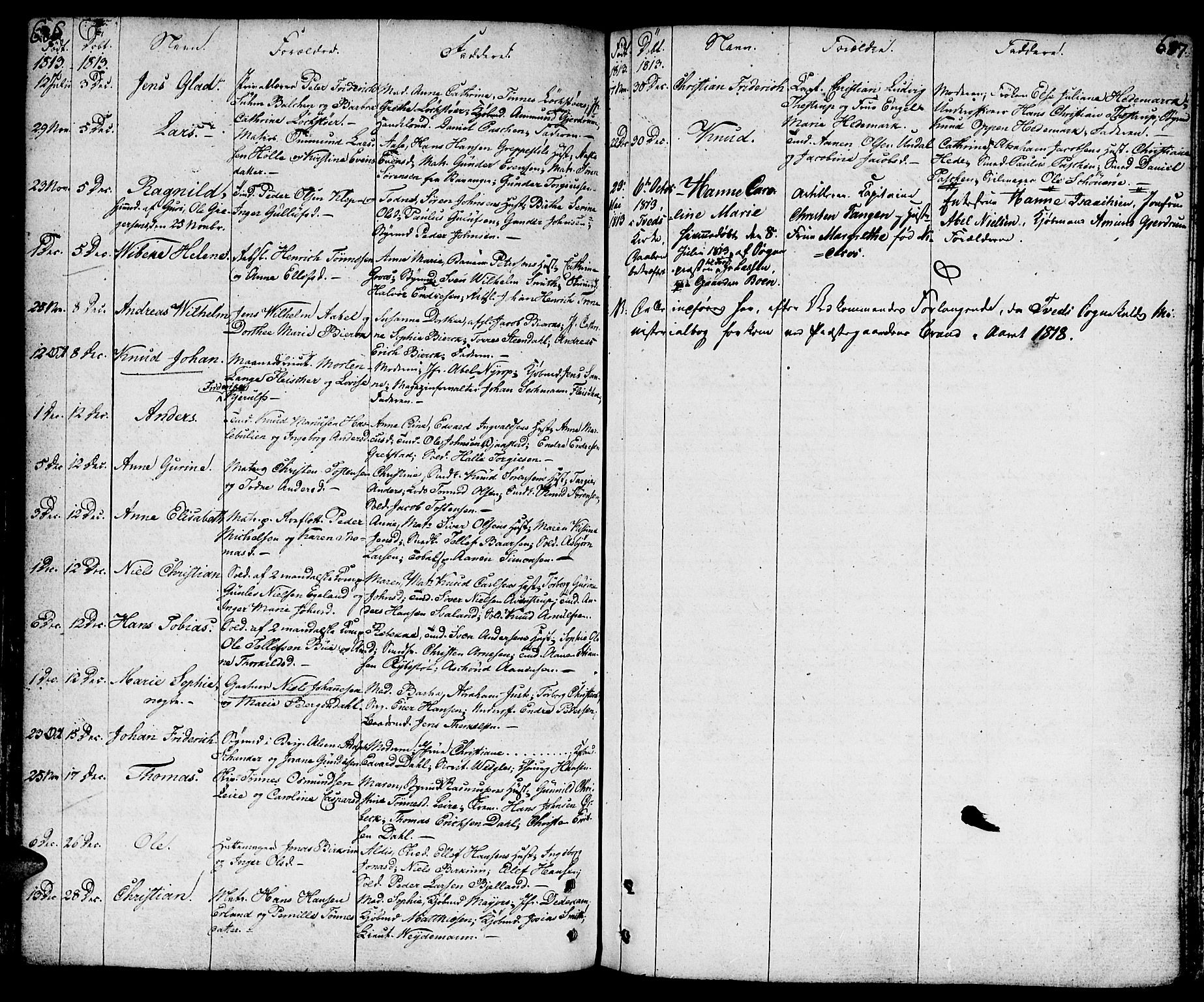 SAK, Kristiansand domprosti, F/Fa/L0003: Parish register (official) no. A 3, 1778-1818, p. 686-687