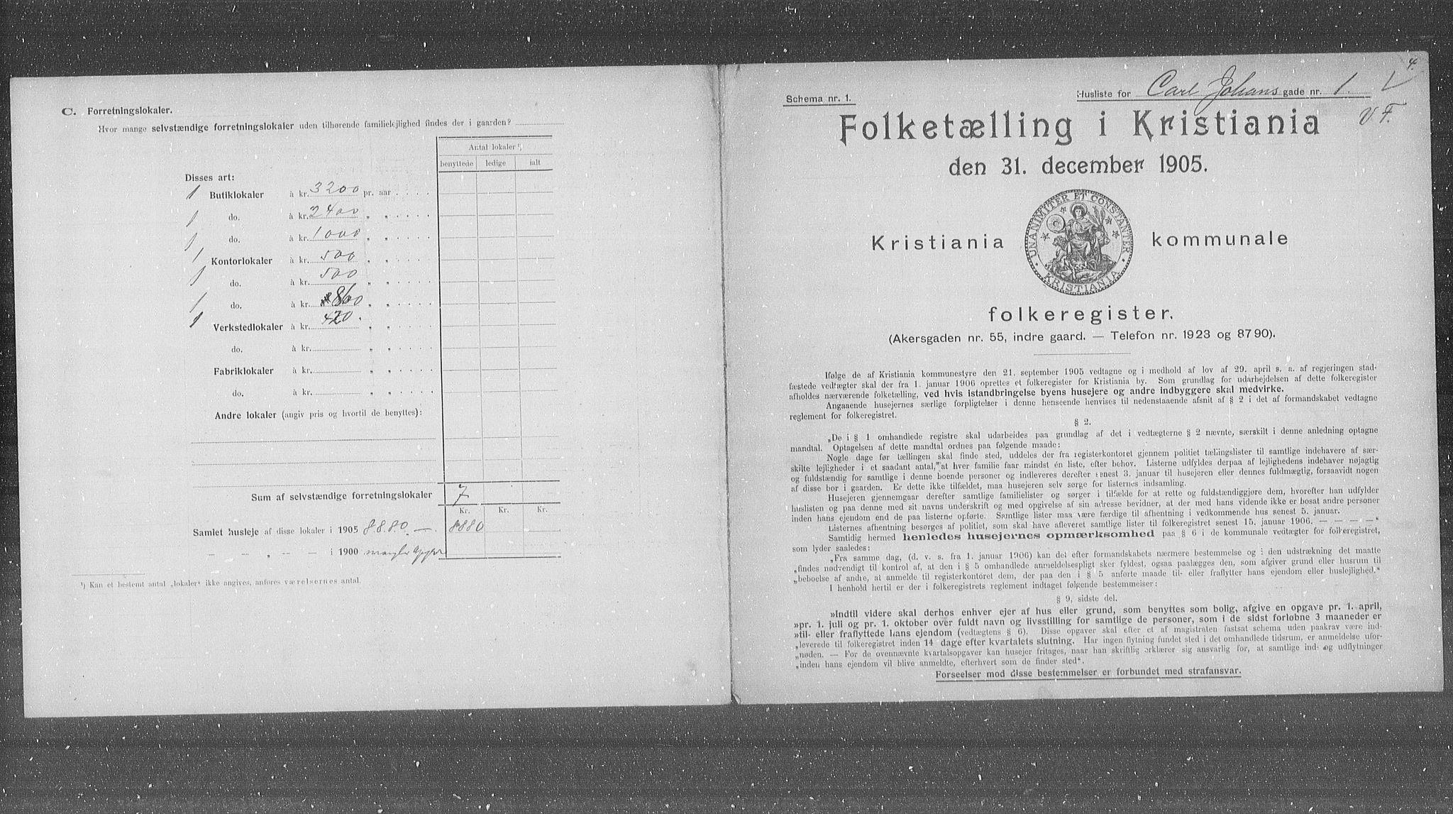OBA, Municipal Census 1905 for Kristiania, 1905, p. 25337