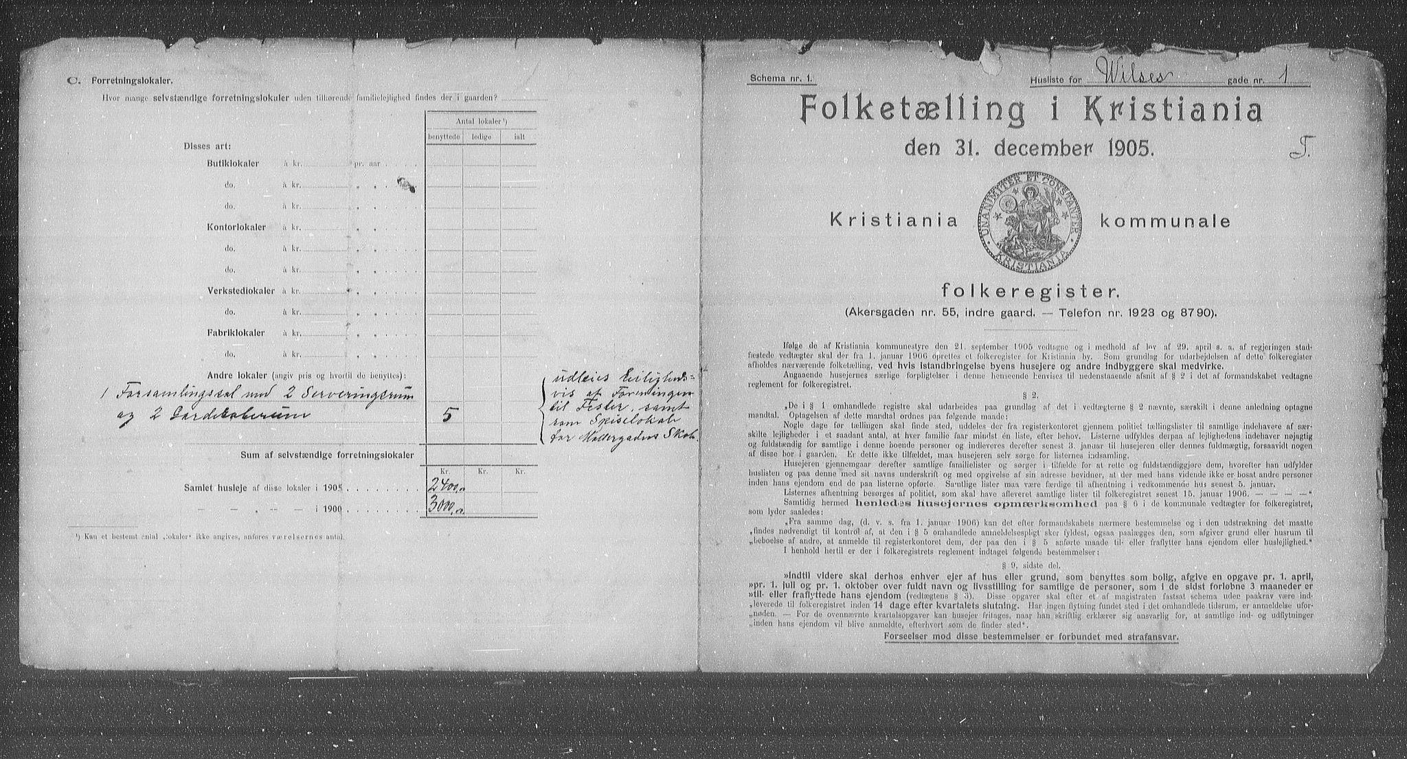 OBA, Municipal Census 1905 for Kristiania, 1905, p. 67425