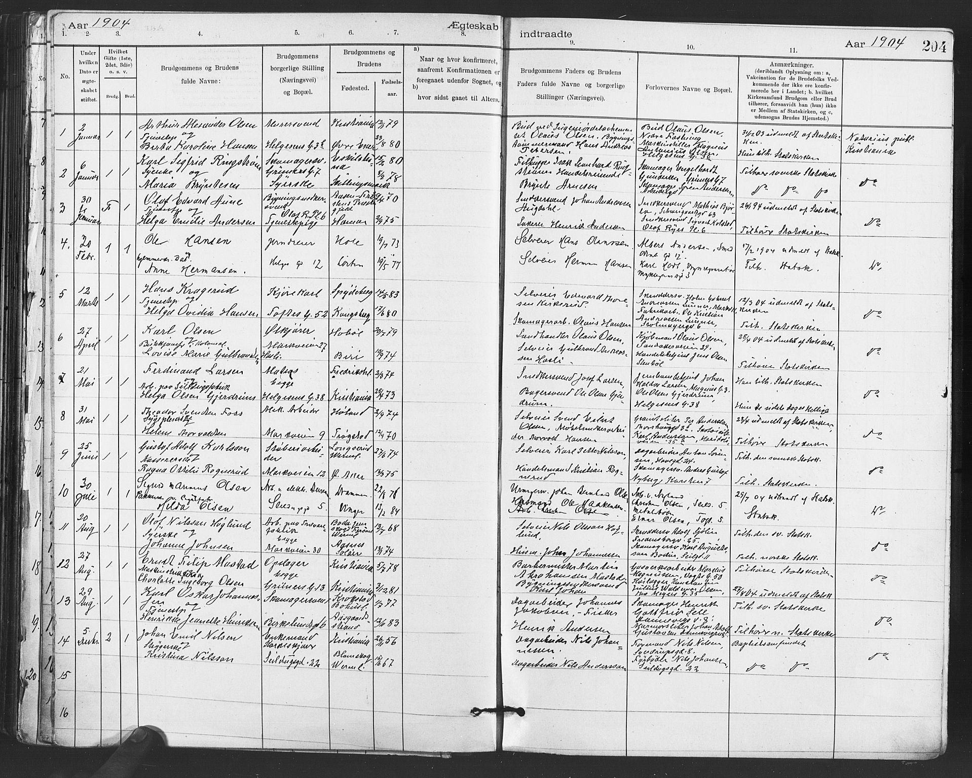 SAO, Paulus prestekontor Kirkebøker, F/Fa/L0012: Parish register (official) no. 12, 1897-1908, p. 204