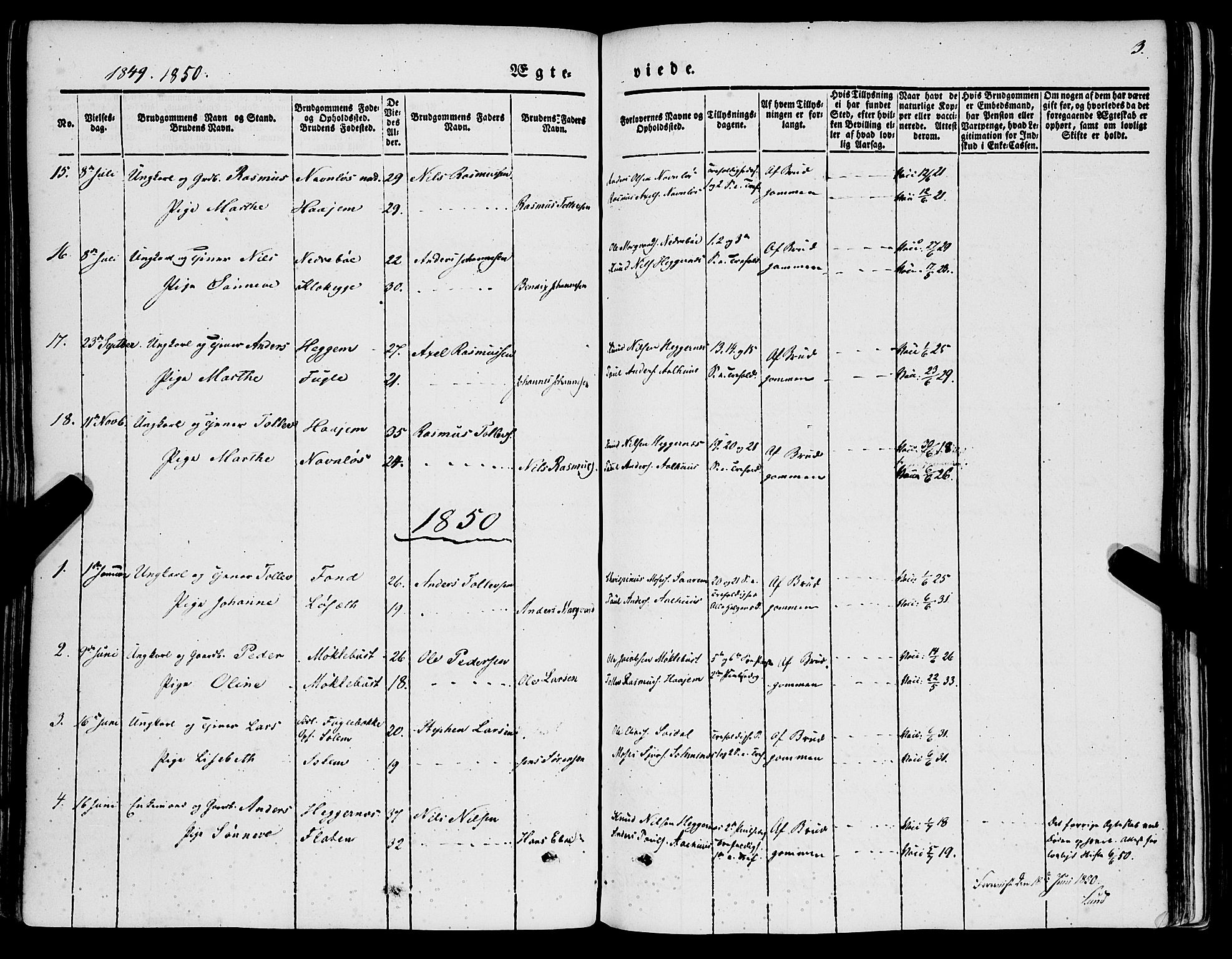 SAB, Jølster sokneprestembete, H/Haa/Haaa/L0010: Parish register (official) no. A 10, 1847-1865, p. 3