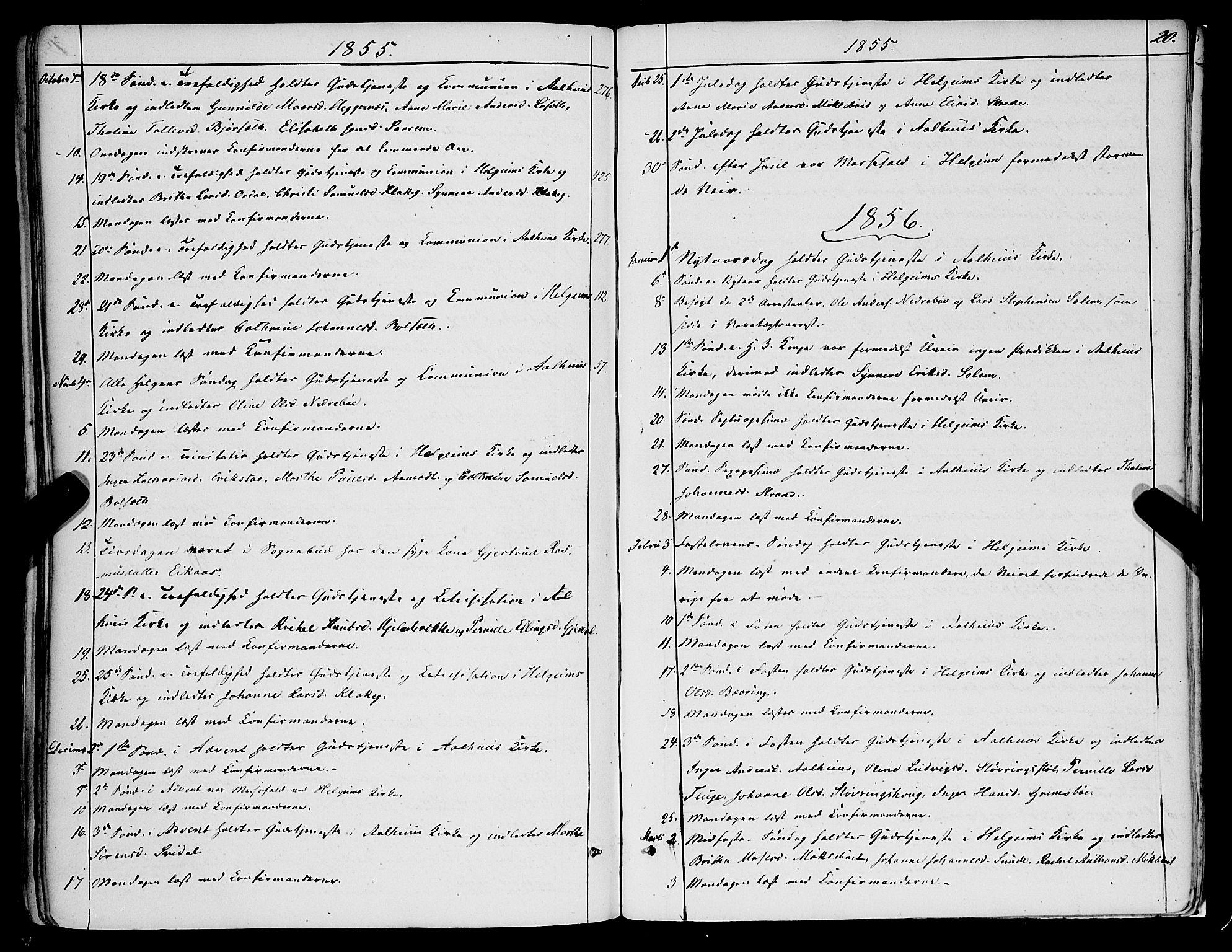 SAB, Jølster sokneprestembete, H/Haa/Haaa/L0010: Parish register (official) no. A 10, 1847-1865, p. 20
