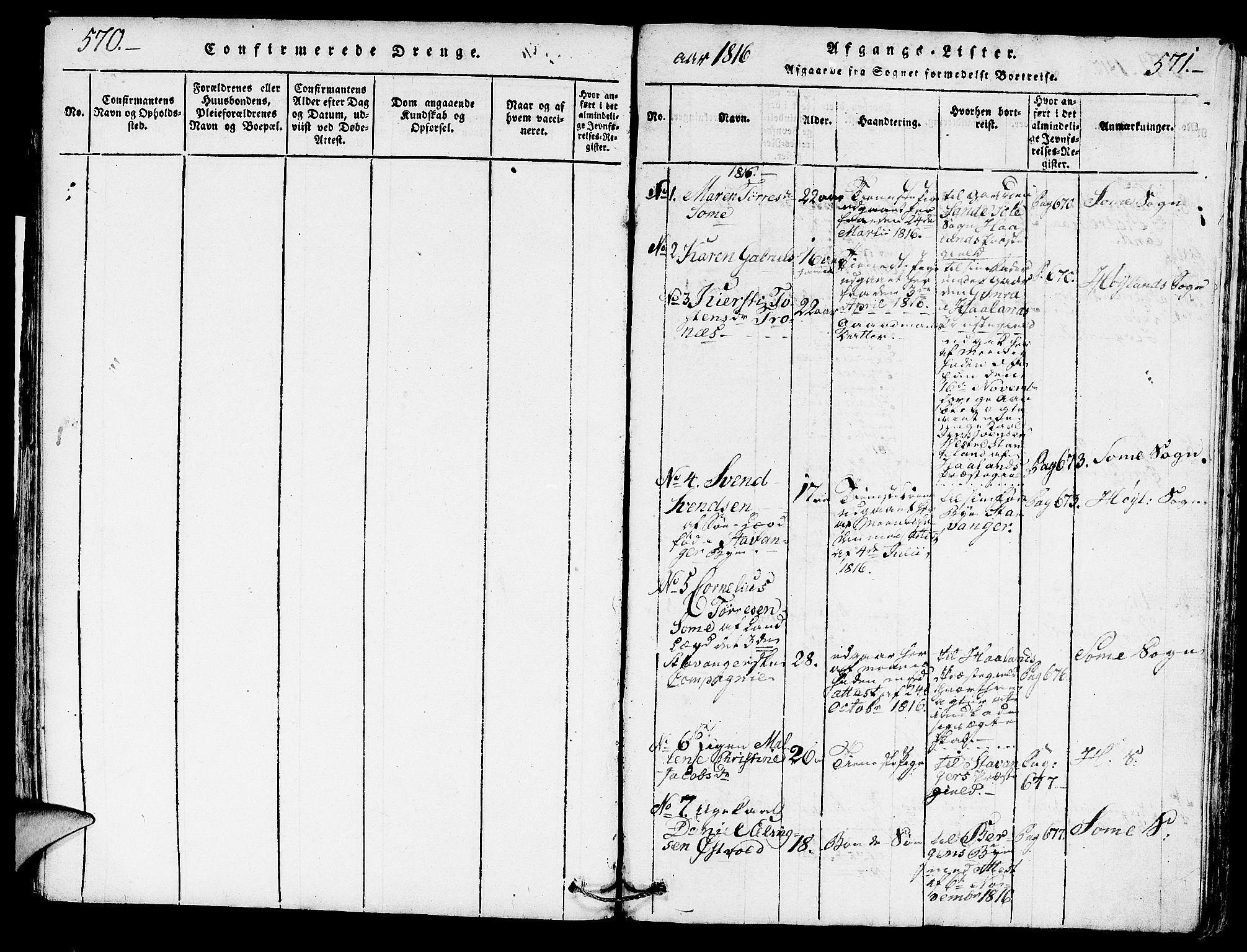 SAST, Høyland sokneprestkontor, 30BA/L0006: Parish register (official) no. A 6, 1815-1825, p. 570-571