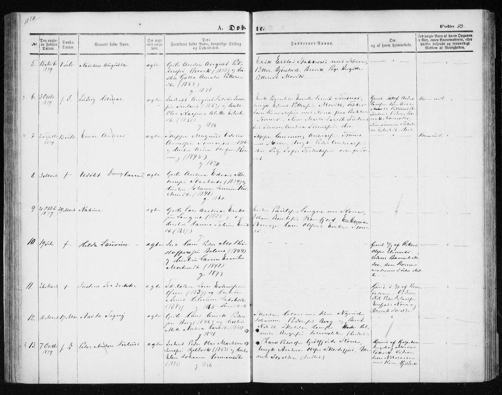 SATØ, Tromsøysund sokneprestkontor, G/Ga/L0003kirke: Parish register (official) no. 3, 1875-1880, p. 83