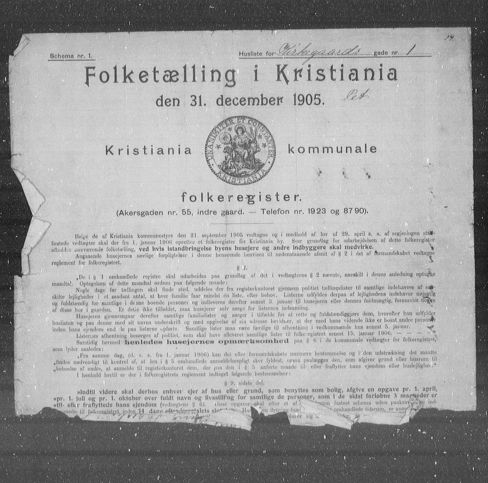 OBA, Municipal Census 1905 for Kristiania, 1905, p. 26216
