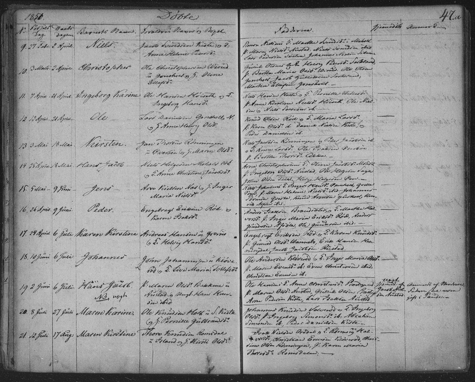 SAKO, Siljan kirkebøker, F/Fa/L0001: Parish register (official) no. 1, 1831-1870, p. 47