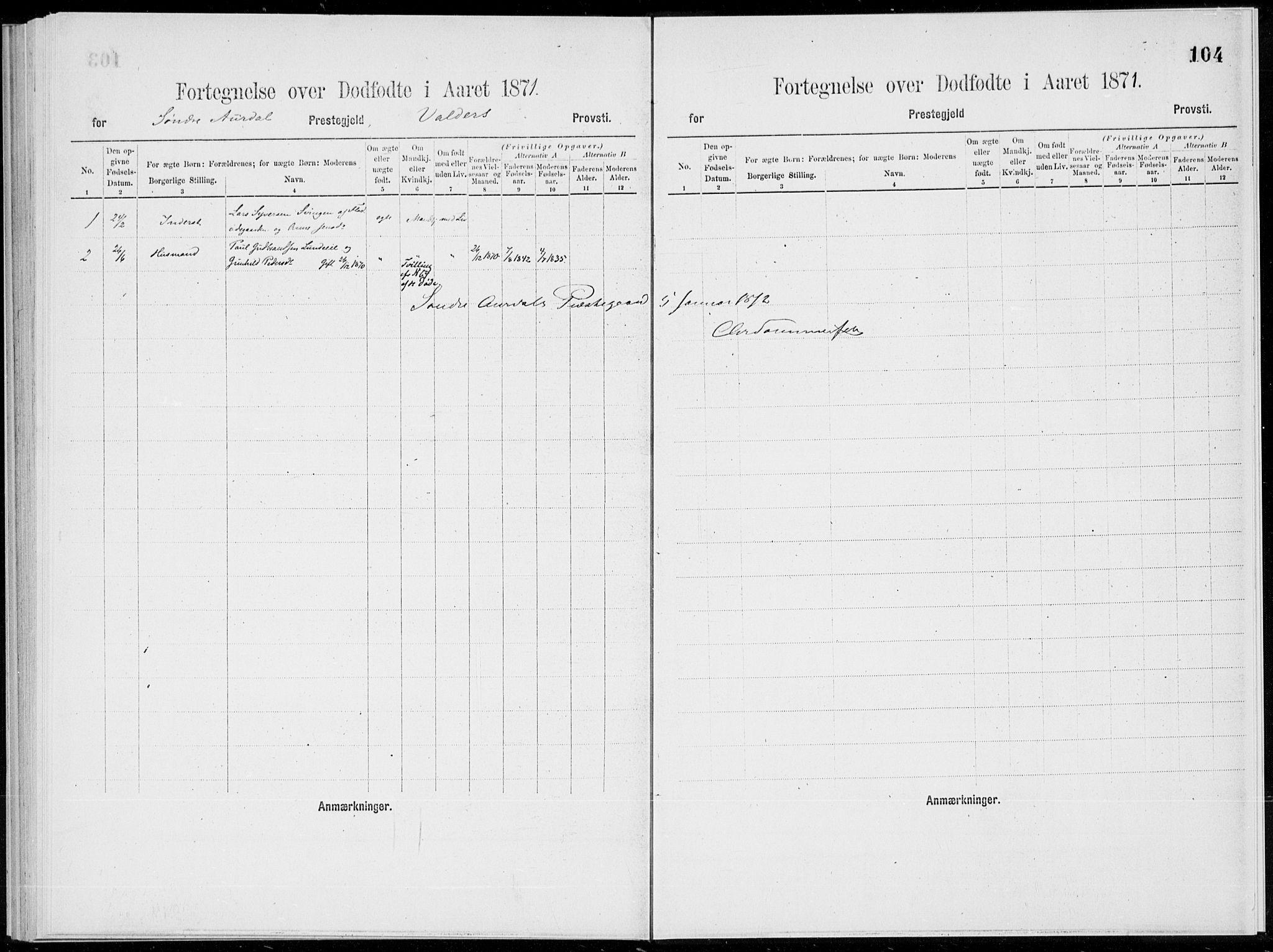 SAH, Sør-Aurdal prestekontor, Parish register (official), 1866-1872, p. 104